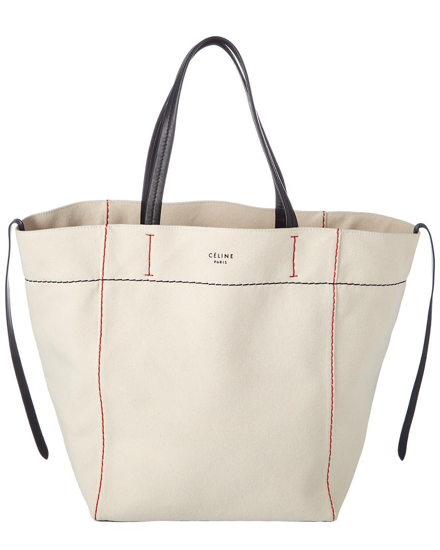 6811f05e4fd Lyst - Céline Medium Cabas Phantom Canvas Tote in White