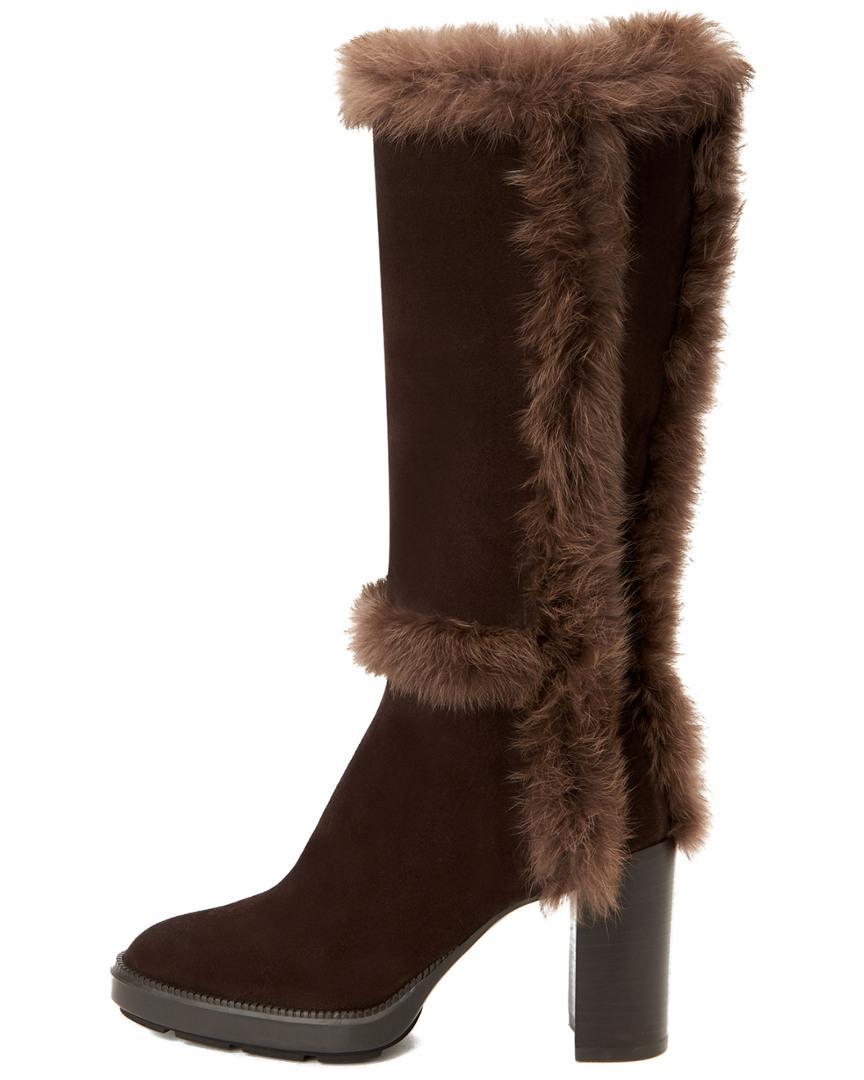 07fc3288a15 Aquatalia Imelda Genuine Rabbit Fur Trim Suede Boot in Brown - Lyst