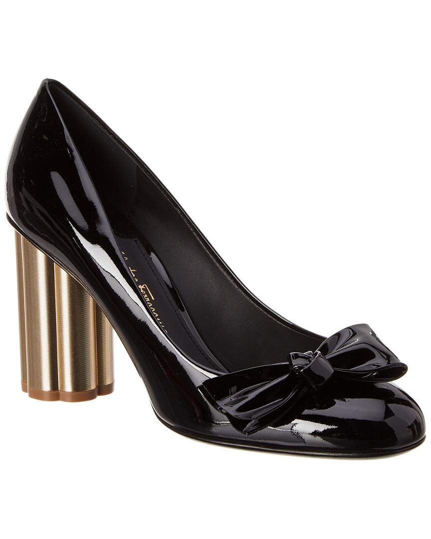 6dade7d4e83f Lyst - Ferragamo Flower Heel Patent Pump in Black
