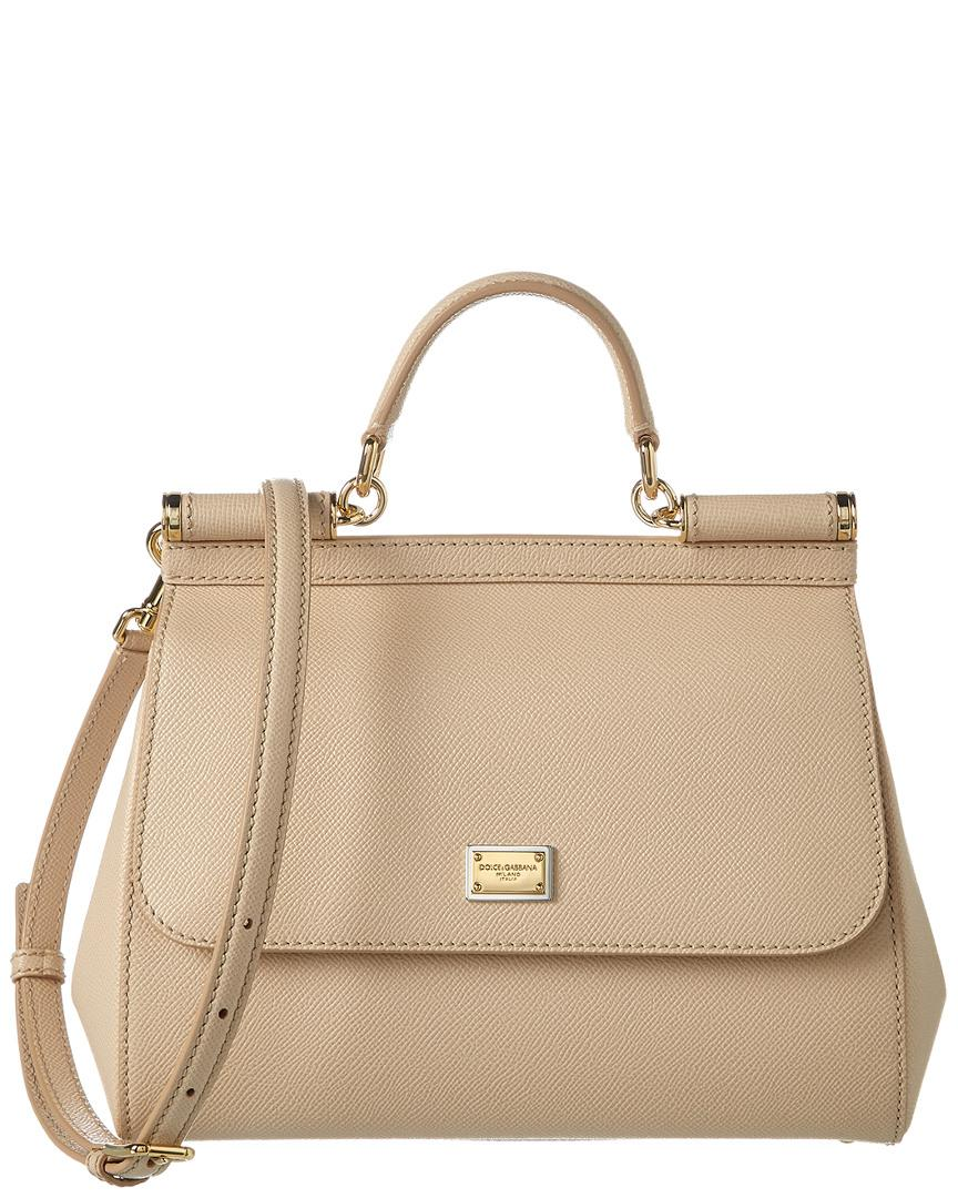 Lyst - Dolce   Gabbana Sicily Medium Dauphine Leather Satchel in Natural 2d39991c33