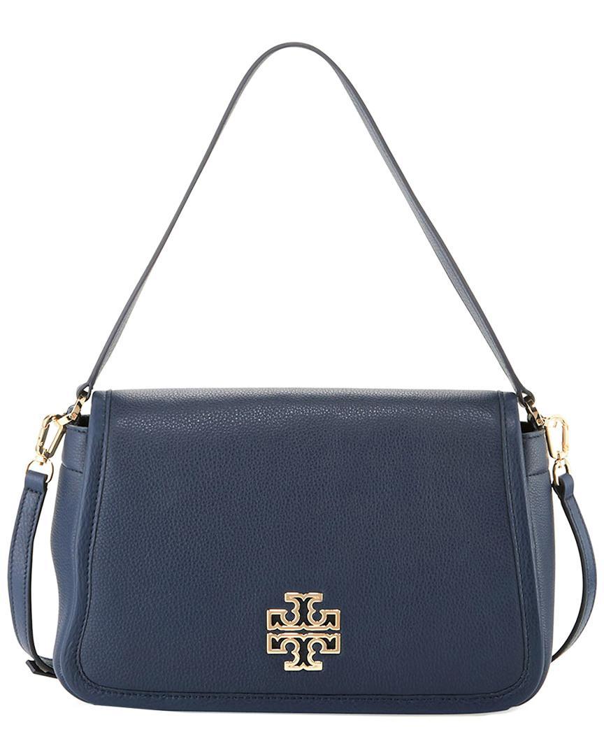e4e65ae5096b Tory Burch Britten Leather Shoulder Bag in Blue - Lyst