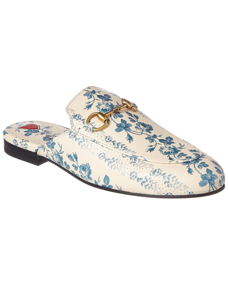 14c48a664ce Gucci Princetown Rose Stamp Leather Slipper in Blue - Lyst