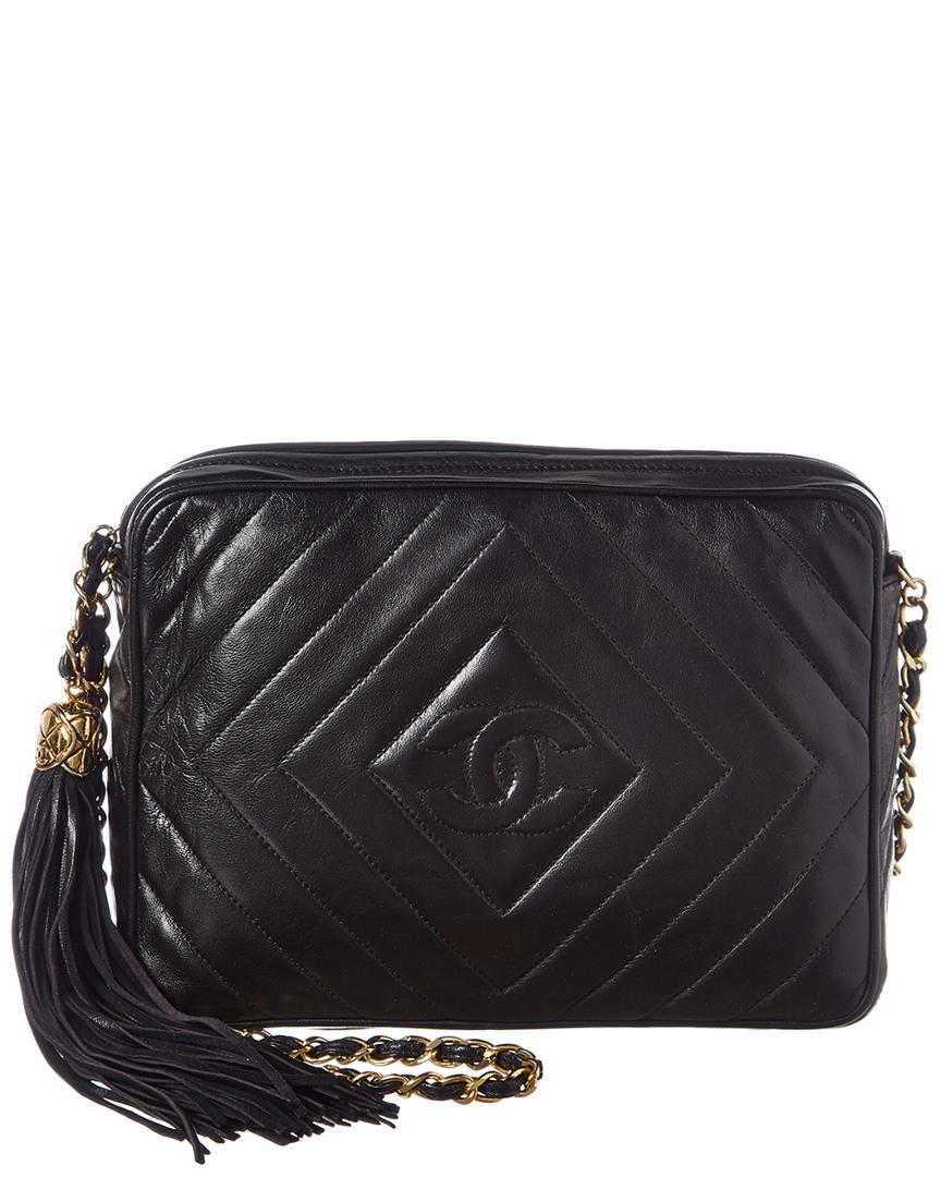 4813f19b5894 Chanel Black Lambskin Leather Diamond Cc Camera Bag in Black - Lyst