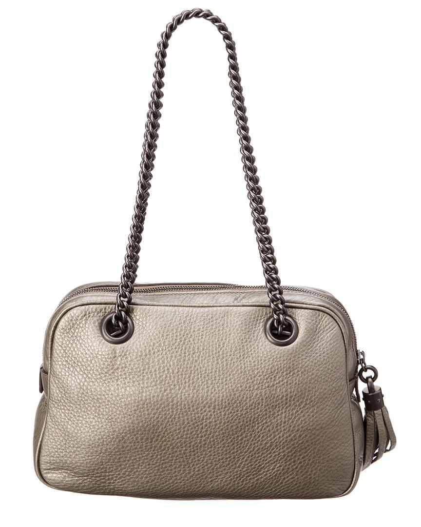 Lyst - Gucci Grey Metallic Leather Soho Chain Shoulder Bag in Gray 1460c00284fa0
