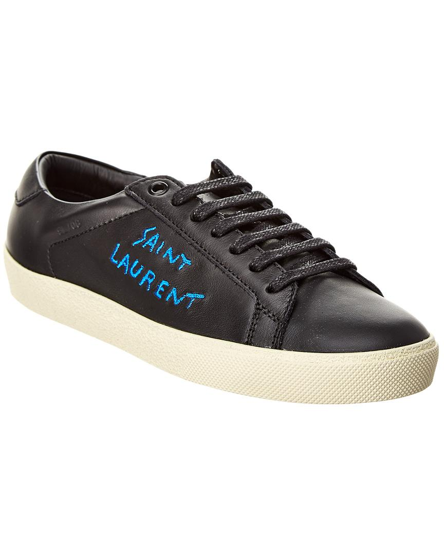 3ff4c3ebcb7 Saint Laurent - Black Signature Court Classic Logo Leather Sneaker - Lyst.  View fullscreen
