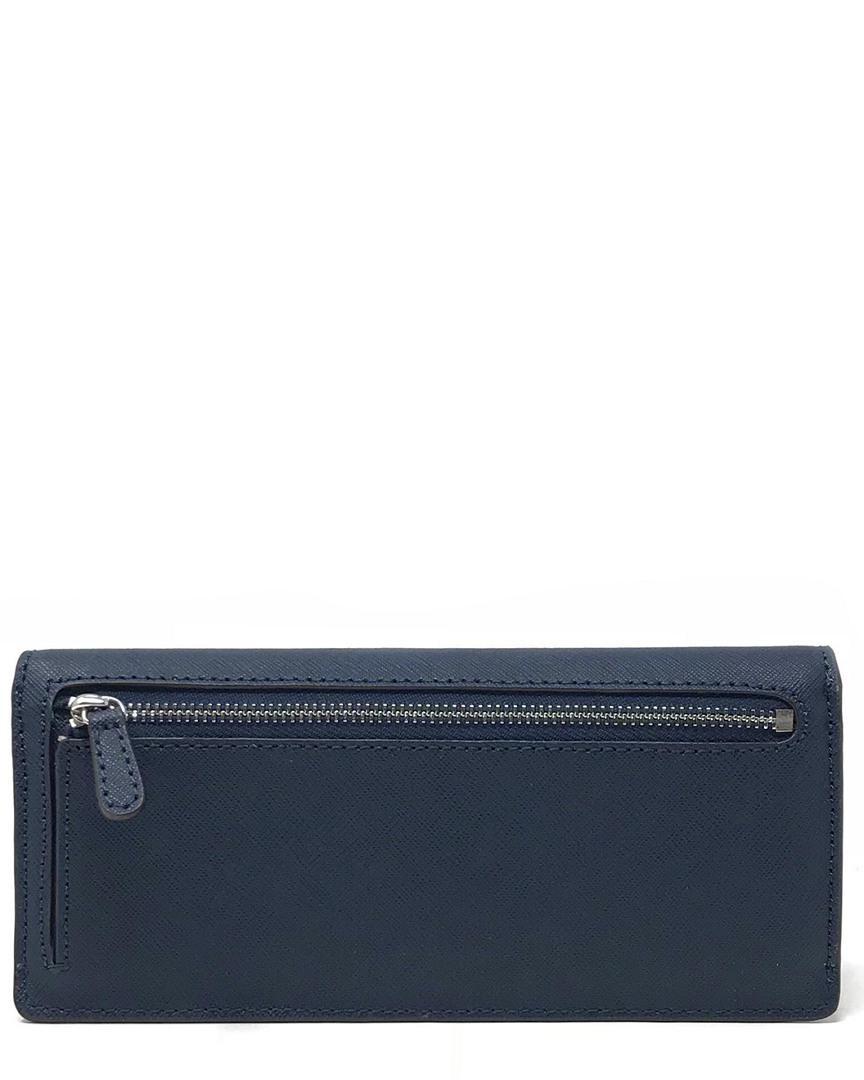 48ec71b5e5bd Lyst - Michael Michael Kors Jet Set Travel Flat Saffiano Leather Wallet in  Blue