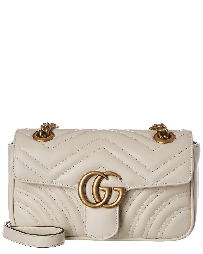 29d3e8d2e5f9 Lyst - Gucci GG Marmont Mini Matelasse Leather Shoulder Bag in White