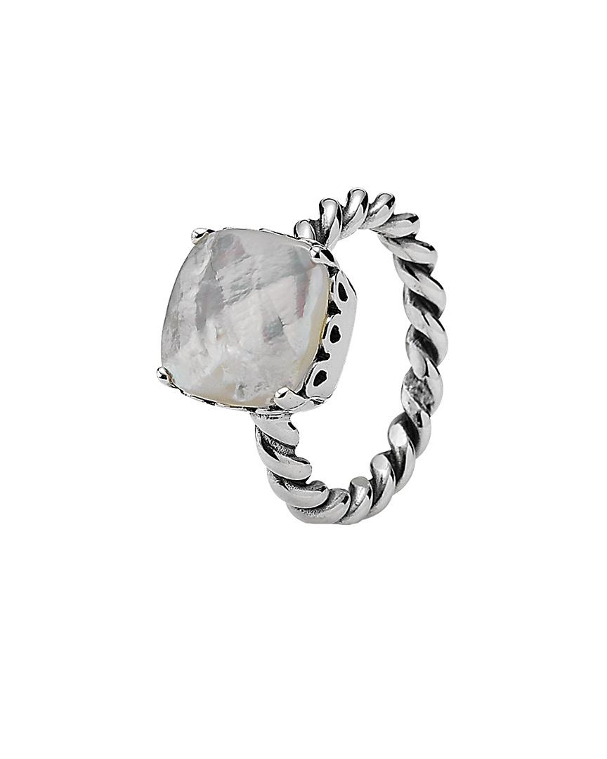 818e8f866 PANDORA Elegant Sincerity Silver Mother-of-pearl Twist Ring in ...