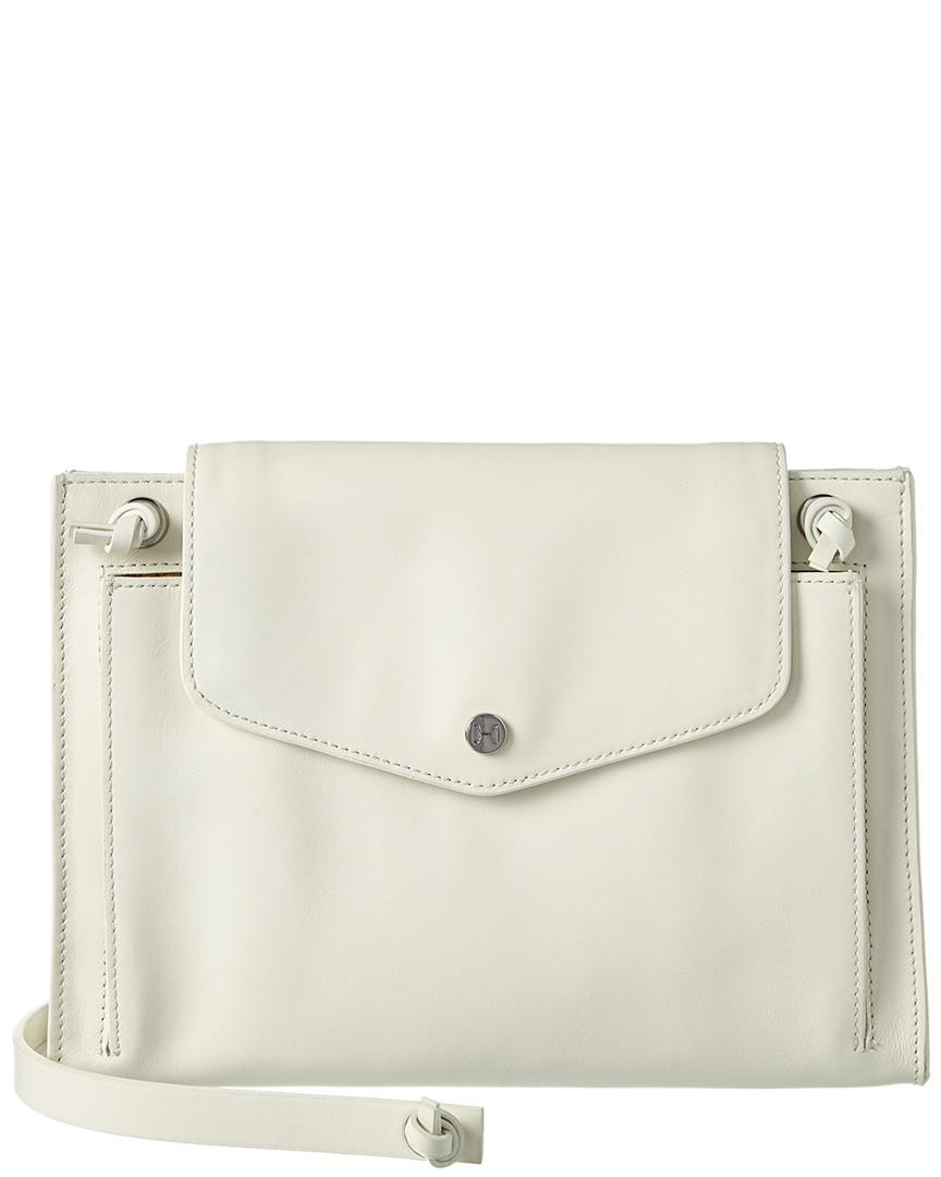 cc3bc4750b29 Lyst - Halston Heritage Flat Leather Crossbody in White