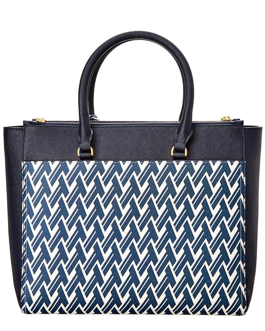 2e294f58ddfb Tory Burch Robinson Printed Double-zip Leather Tote in Blue - Save  26.71957671957672% - Lyst