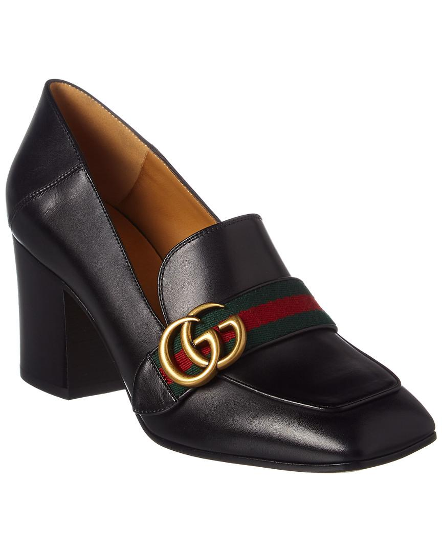 59766c43765 Lyst - Gucci Gg Web Leather Mid-heel Loafer in Black