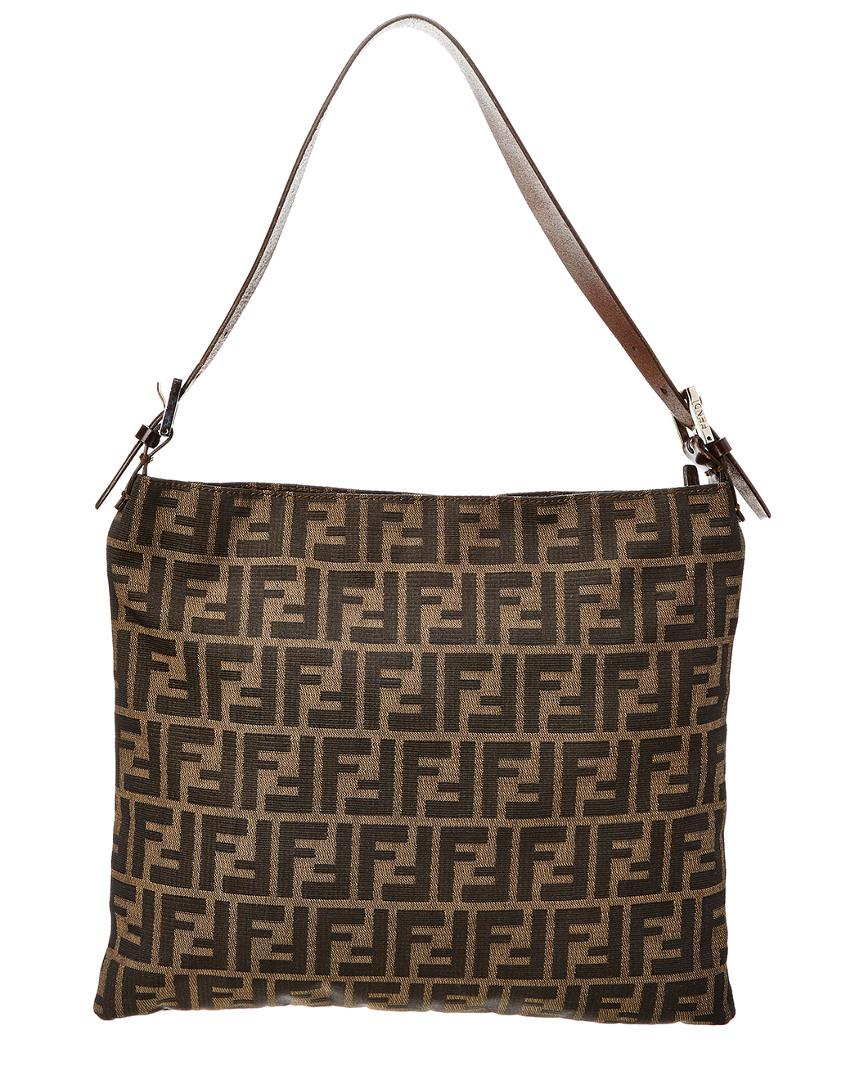 33dbcc1d22 Lyst - Fendi Brown Zucca Canvas Shoulder Bag in Brown