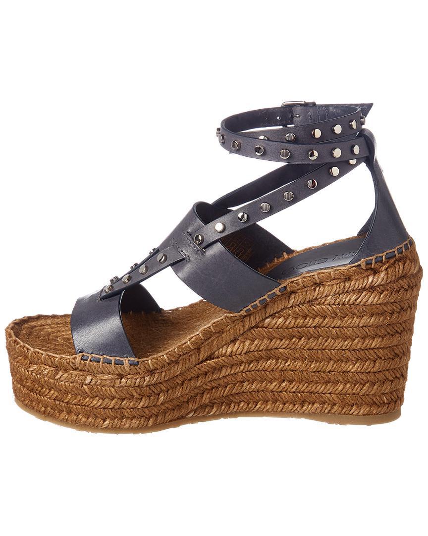 cacf940bac2 Jimmy Choo Danica 110 Leather Espadrille Wedge Sandal in Gray - Save  24.924471299093653% - Lyst