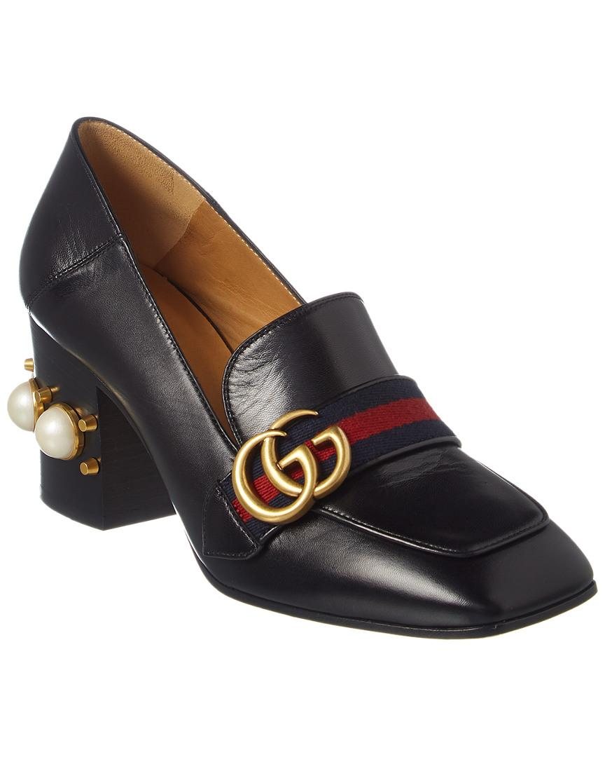 2388f91bdb3 Gucci Peyton Embellished Leather Loafers in Black - Save 7% - Lyst