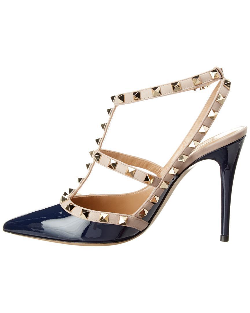 fd50334bc01 Lyst - Valentino Rockstud 100 Patent Ankle Strap Pump in Blue