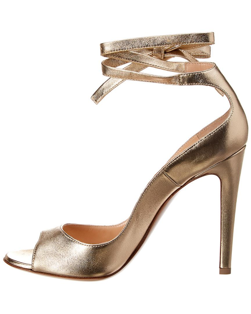 a6c6291526c Gianvito Rossi Metallic Leather Ankle Strap Sandal in Metallic - Lyst