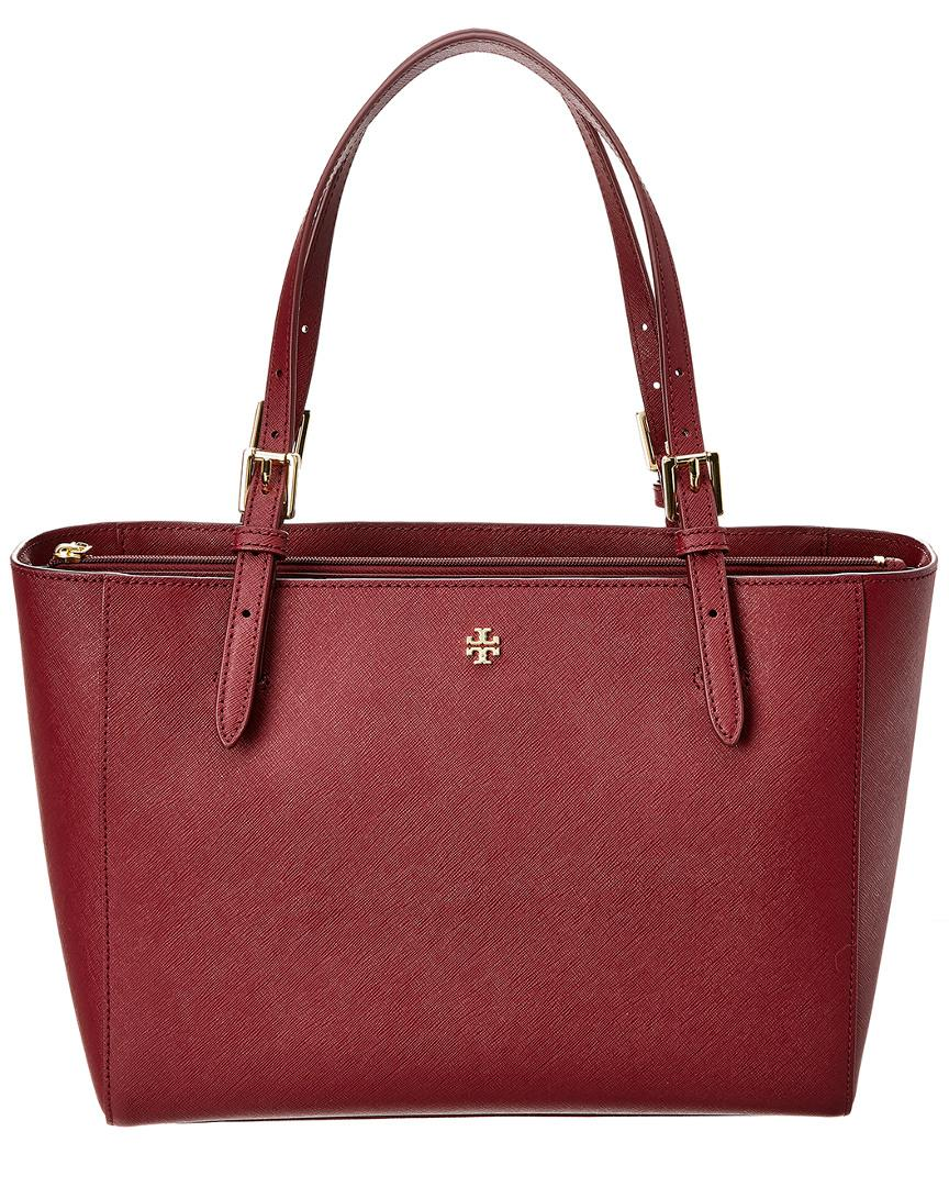42886785ad20 Tory Burch Emerson Small Leather Buckle Tote in Red - Lyst