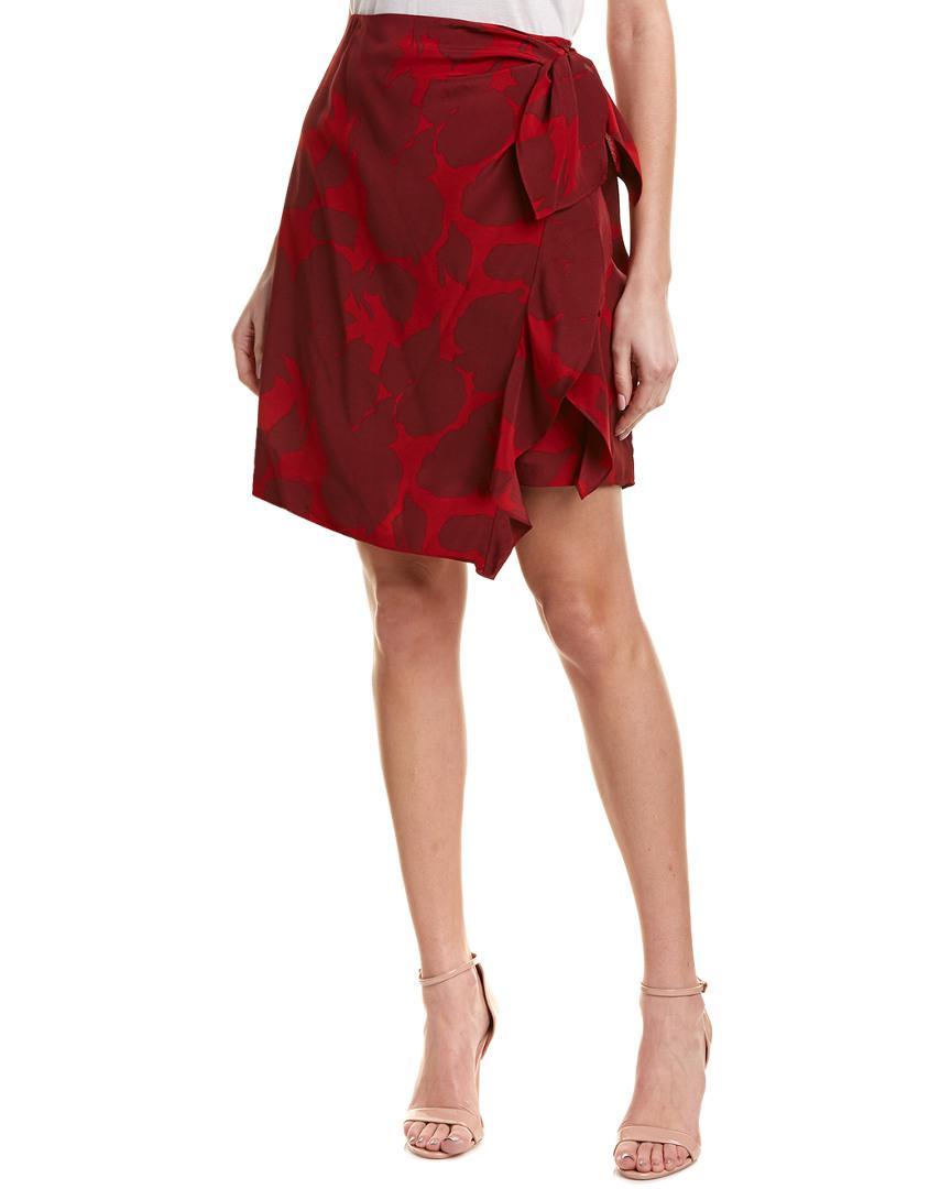 042f9c8ce4 10 Crosby Derek Lam Sarong Silk Mini Skirt in Red - Save 61% - Lyst