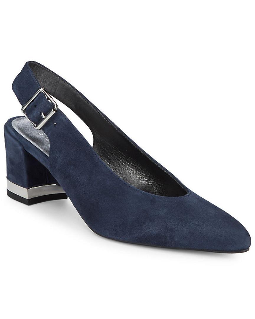 54ee24467bf Lyst - Stuart Weitzman Lamella Suede Slingback Heels in Blue