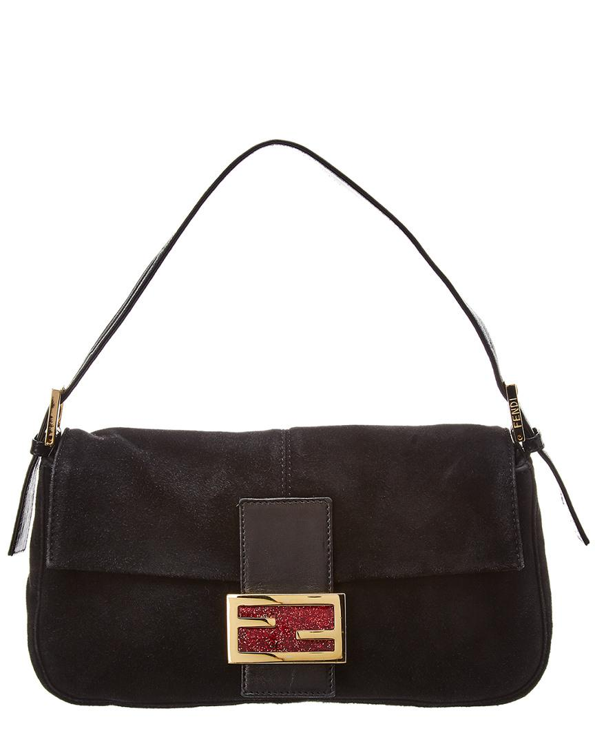 b183d1ac7085 Fendi Black Suede Baguette Bag in Black - Lyst