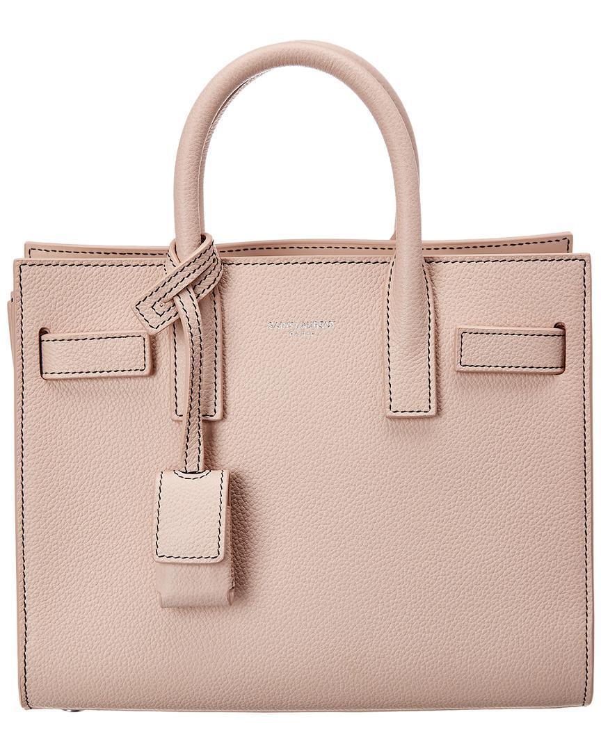 7c2b81489a5 Lyst - Saint Laurent Nano Sac De Jour Leather Tote in Pink