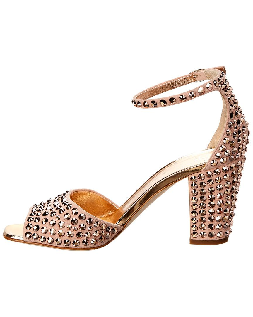c68edfd9b8c9 Lyst - Giuseppe Zanotti Lavinia Embellished Suede Sandal in Pink - Save 38%