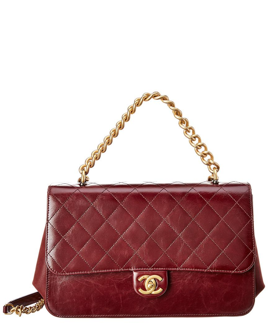 81415756ce7841 Chanel. Women's Purple Burgundy Quilted Calfskin Leather Accordion Flap Bag