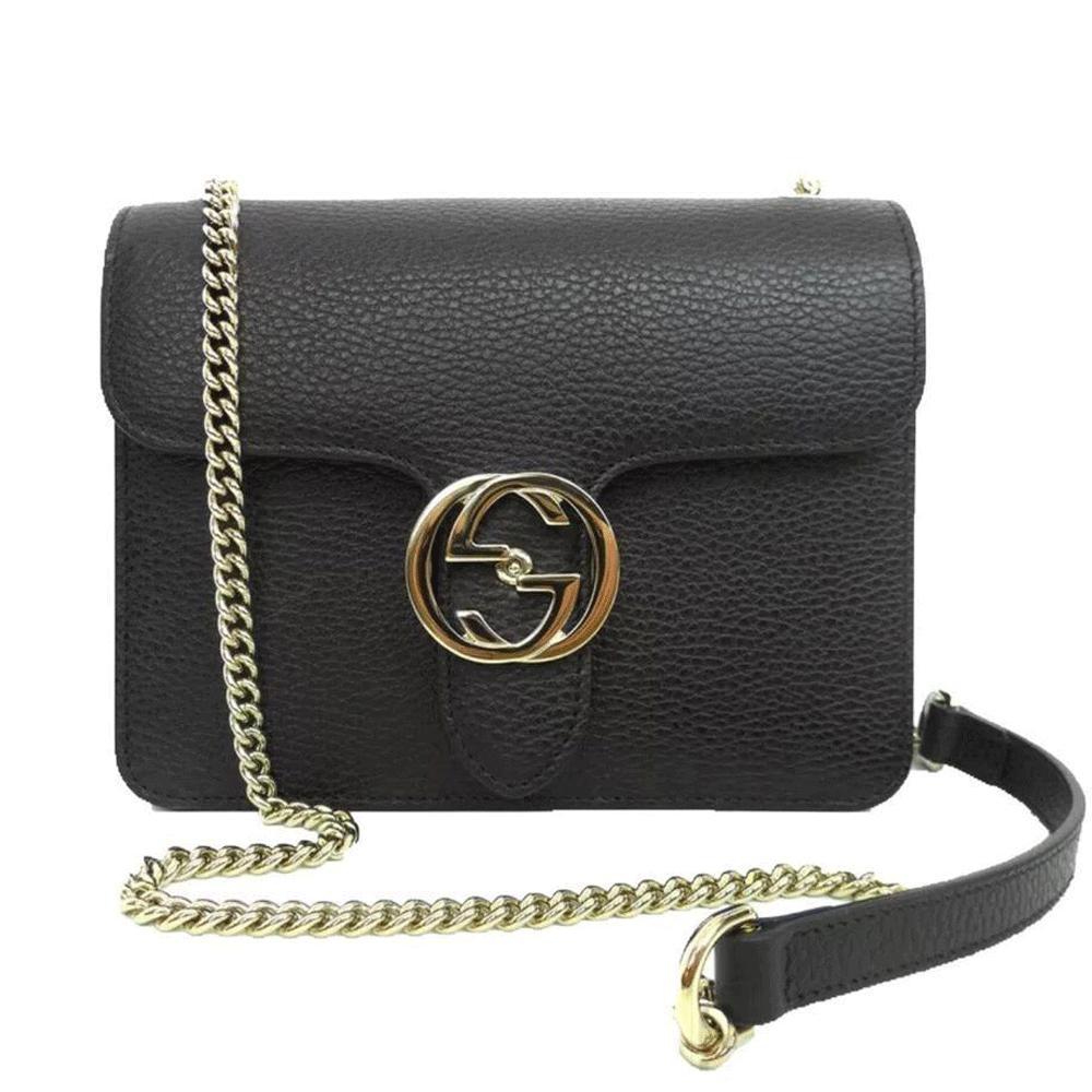 e11f3e47578c Gucci - Black Leather Marmont Interlocking GG Crossbody Bag - Lyst. View  fullscreen