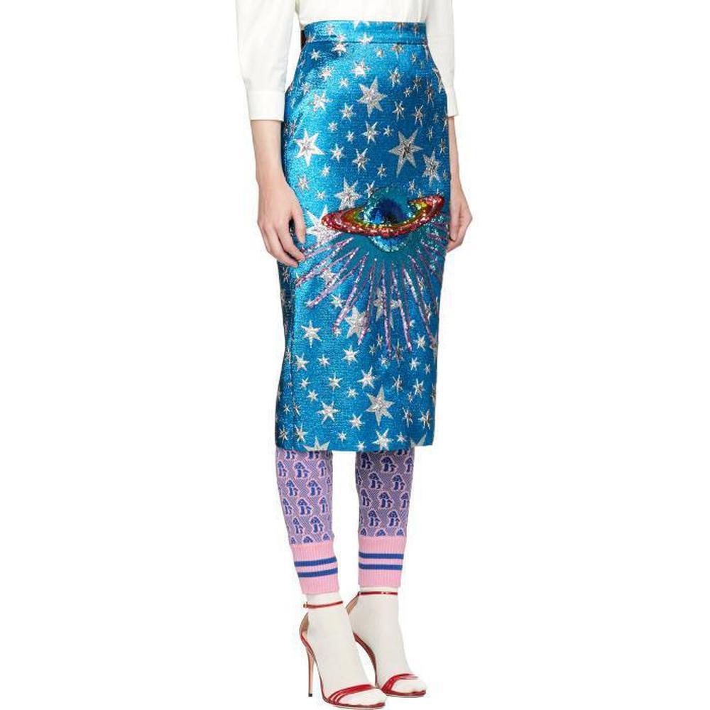 Gucci - Blue Sequin-embellished Metallic Jacquard Midi Skirt - Lyst. View  fullscreen 5c10c97ae3