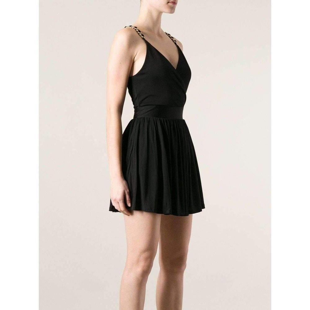 feac88fd Balmain - Black Fitted Wrap Metal Chain Straps Dress - Lyst. View fullscreen