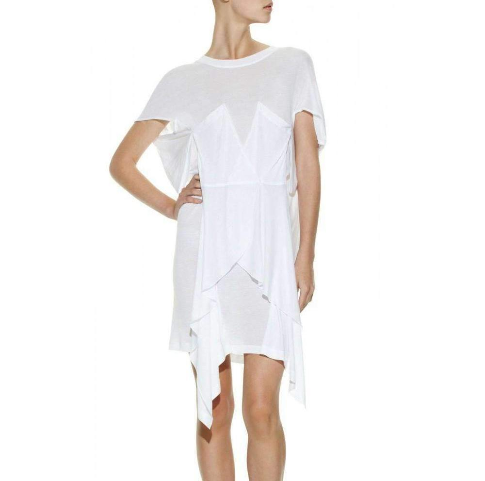 05185748 Lyst - BCBGMAXAZRIA Runway Knit Crossover-front T-shirt Dress in White