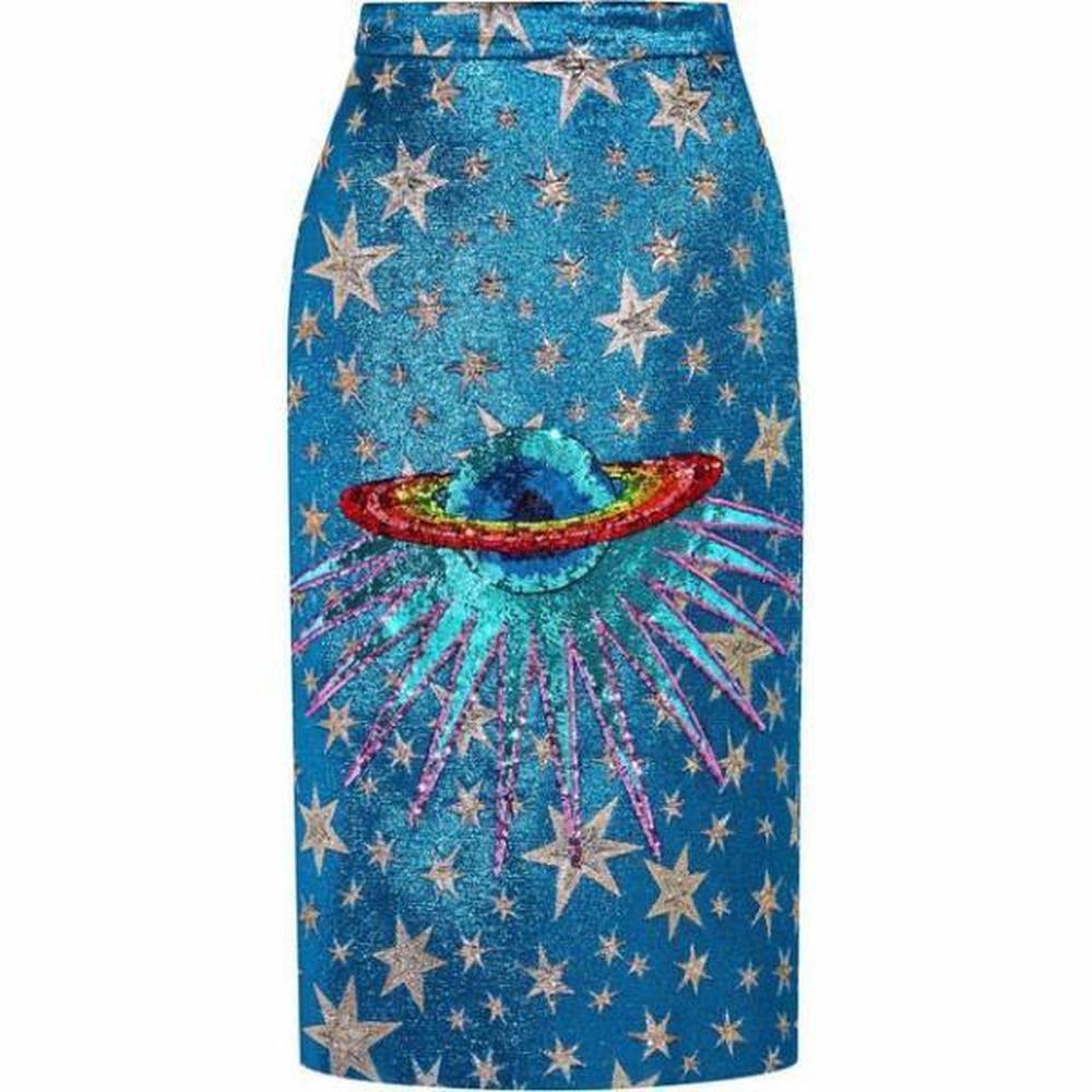 Lyst - Gucci Blue Sequin-embellished Metallic Jacquard Midi Skirt in ... de6d10596a