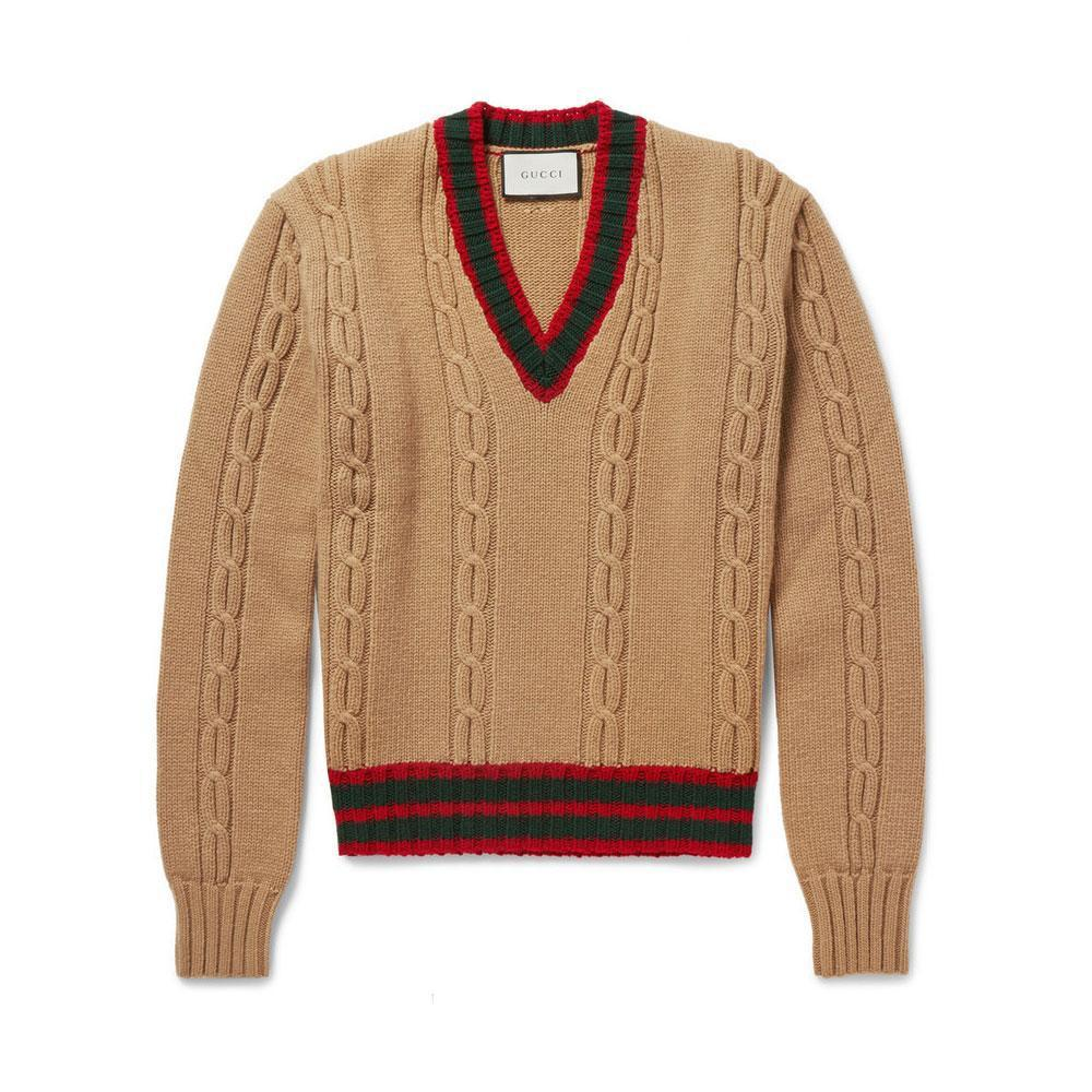 946bcb9a80c Lyst - Gucci Slim Fit Striped Cable Knit Wool Sweater for Men