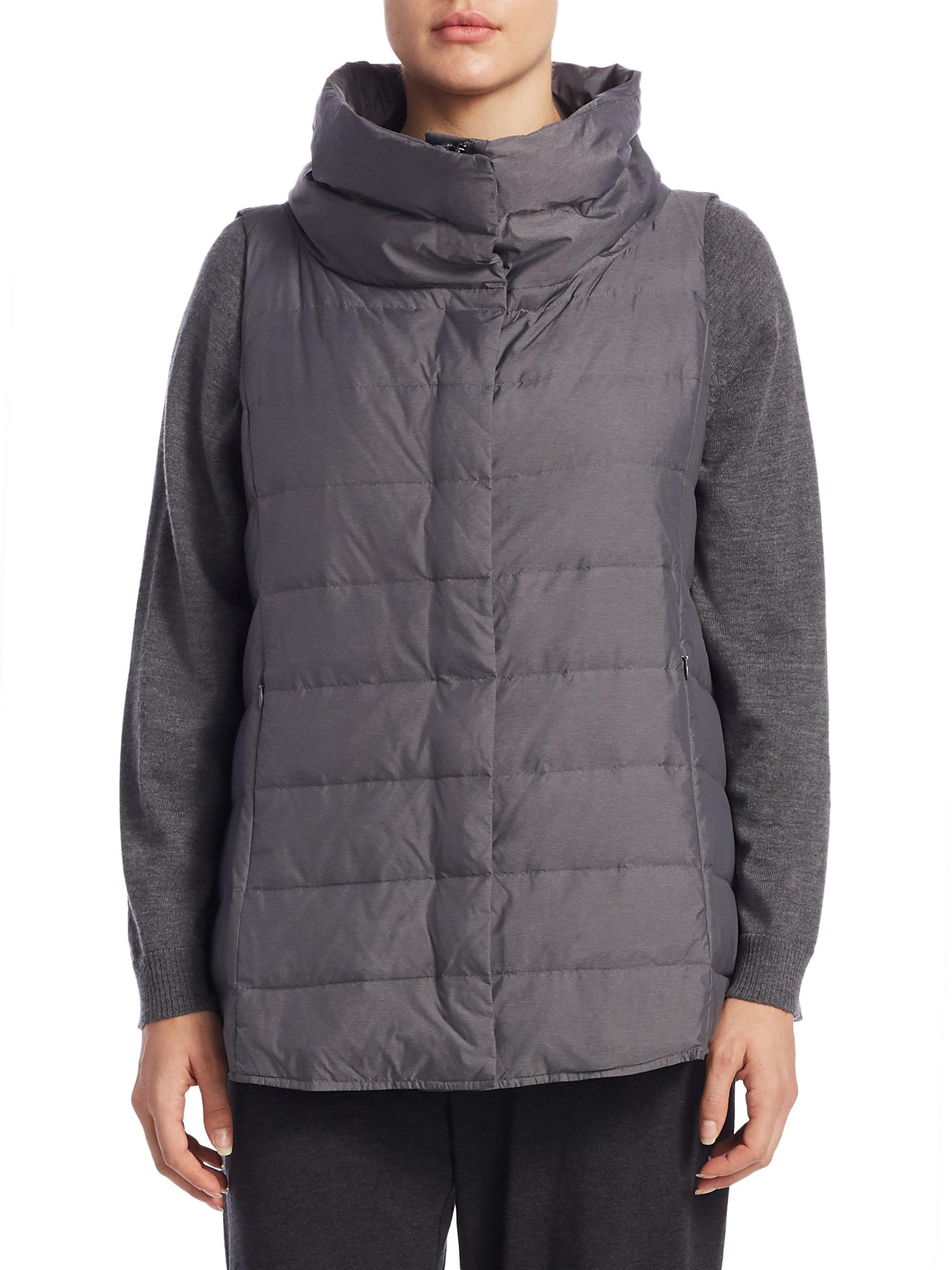 Lyst Eileen Fisher Puffer Vest In Gray