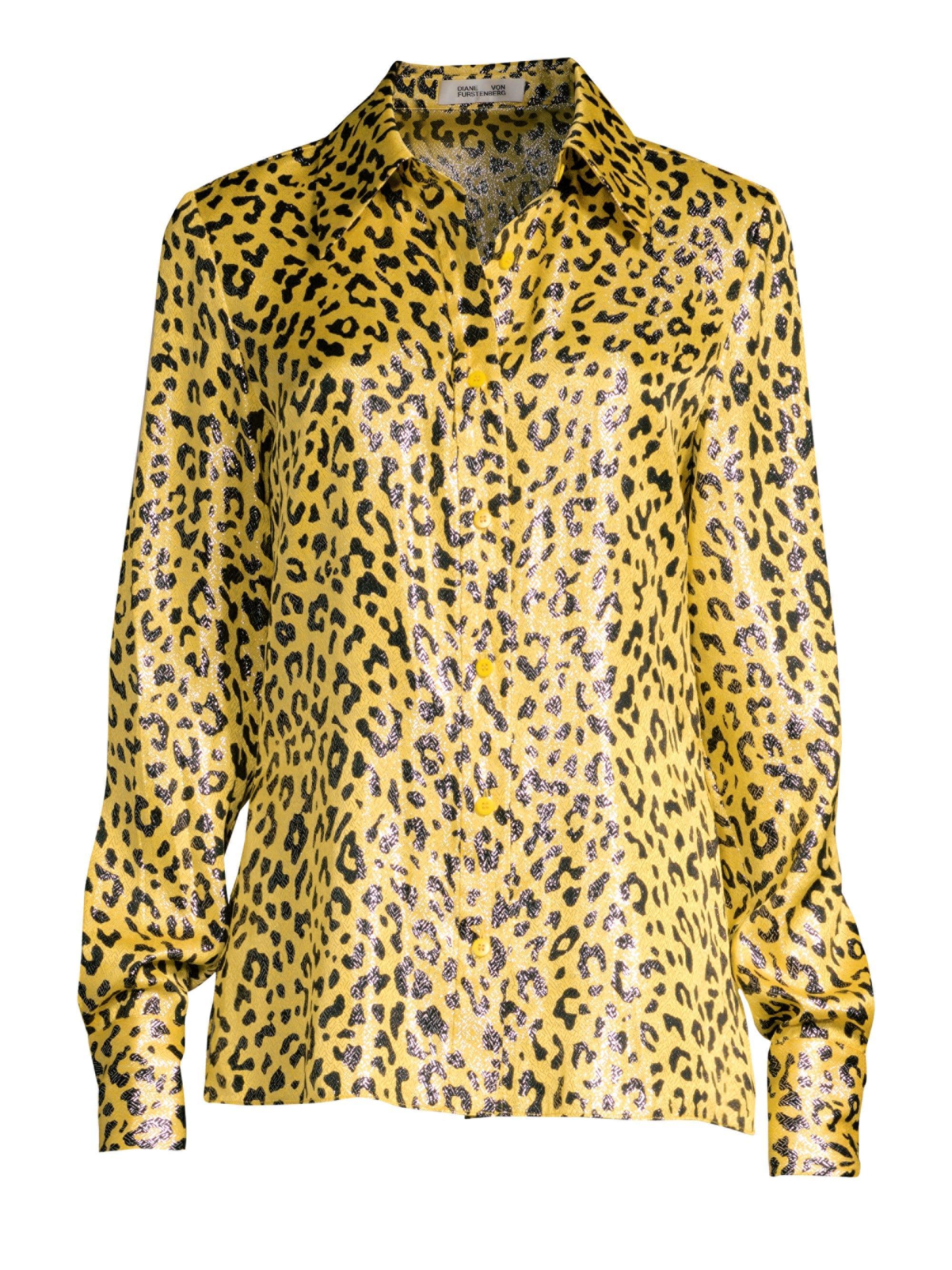 6e13a8be14724c Lyst - Diane von Furstenberg Women s Leopard Print Button-down Shirt ...