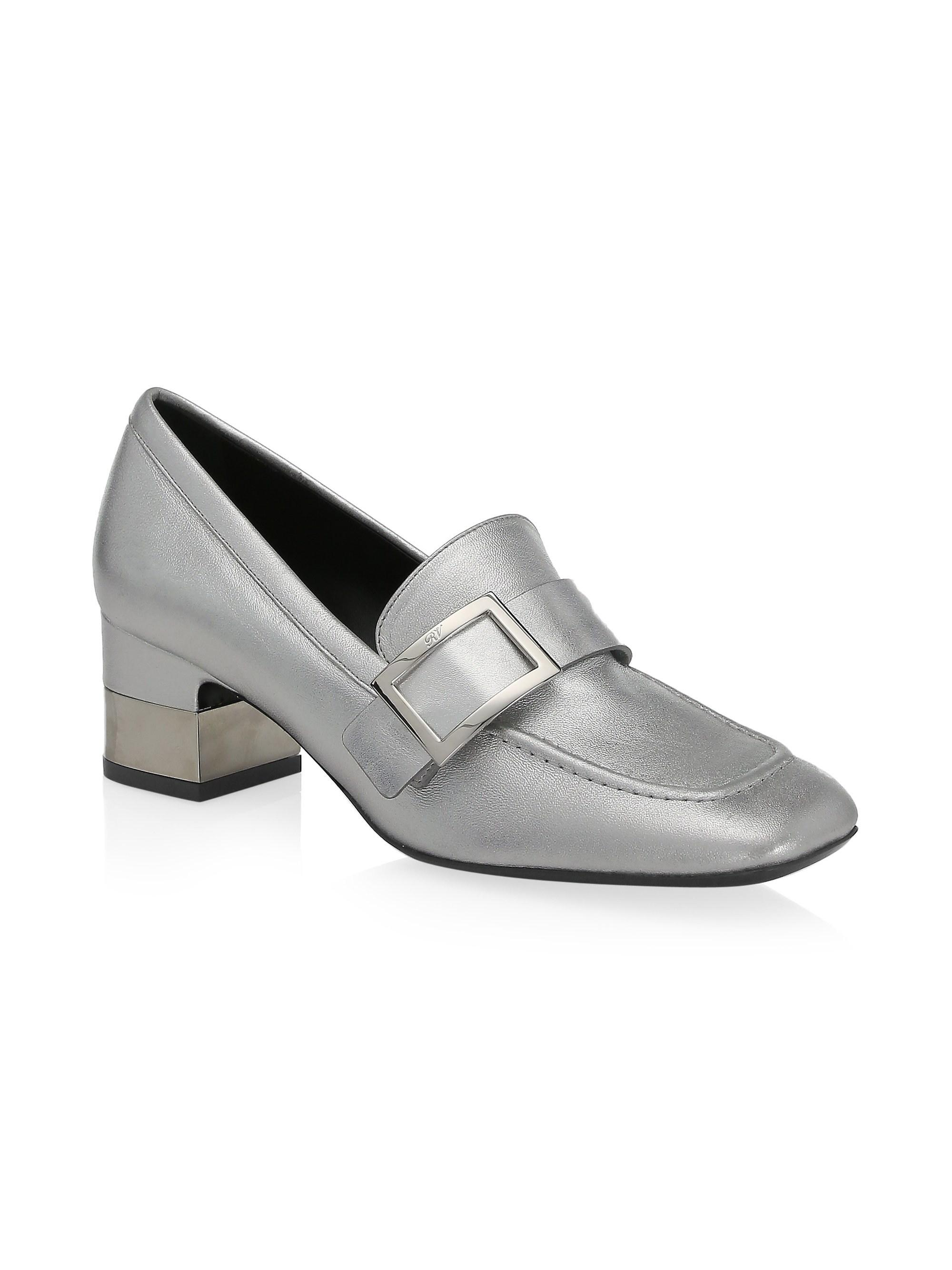 0affe9bda24 Roger Vivier - Metallic Leather Heeled Buckle Loafers - Lyst. View  fullscreen
