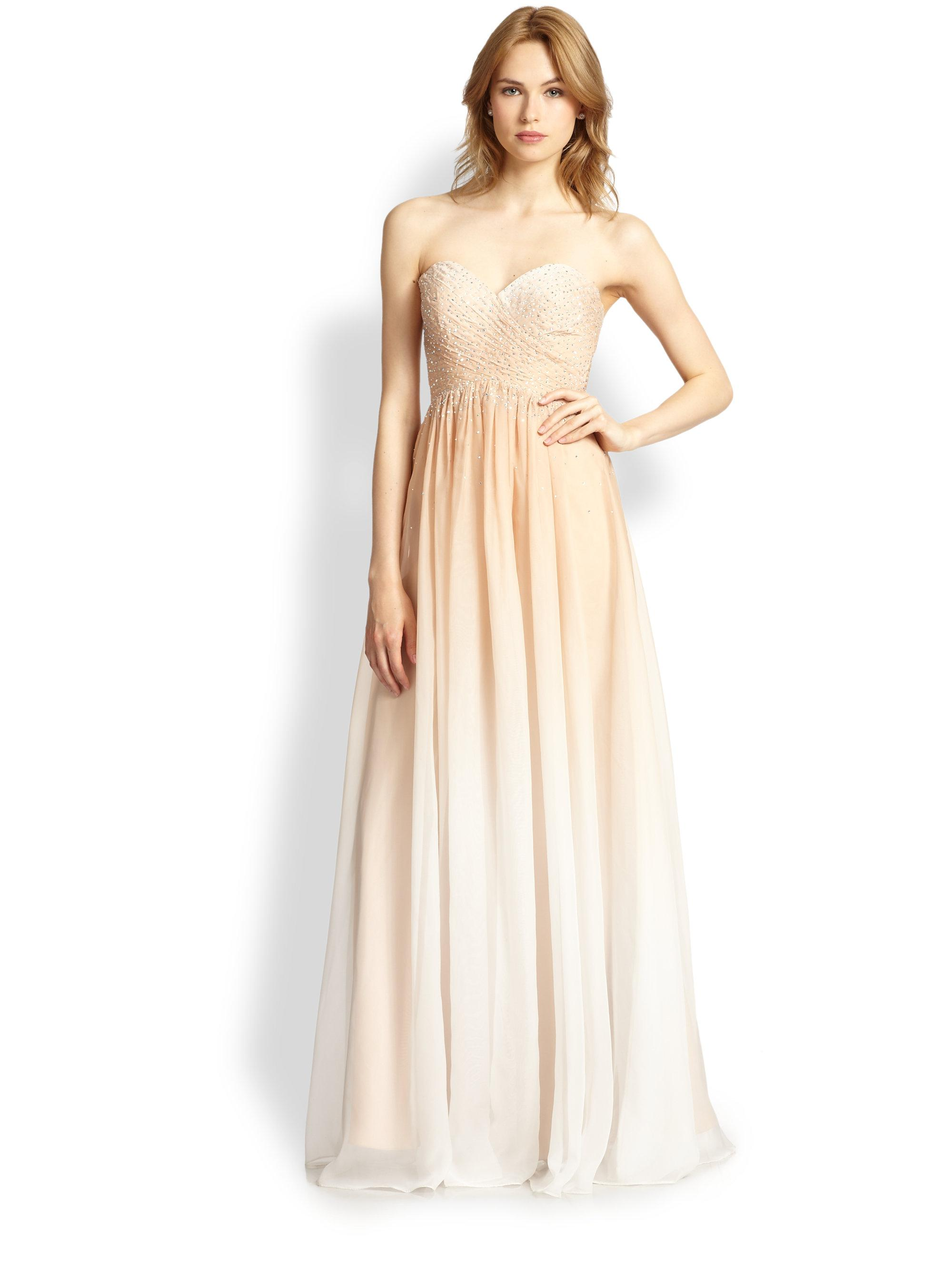 34a8ef273e5 Lyst - La Femme Strapless Organza Ombré Gown in Natural