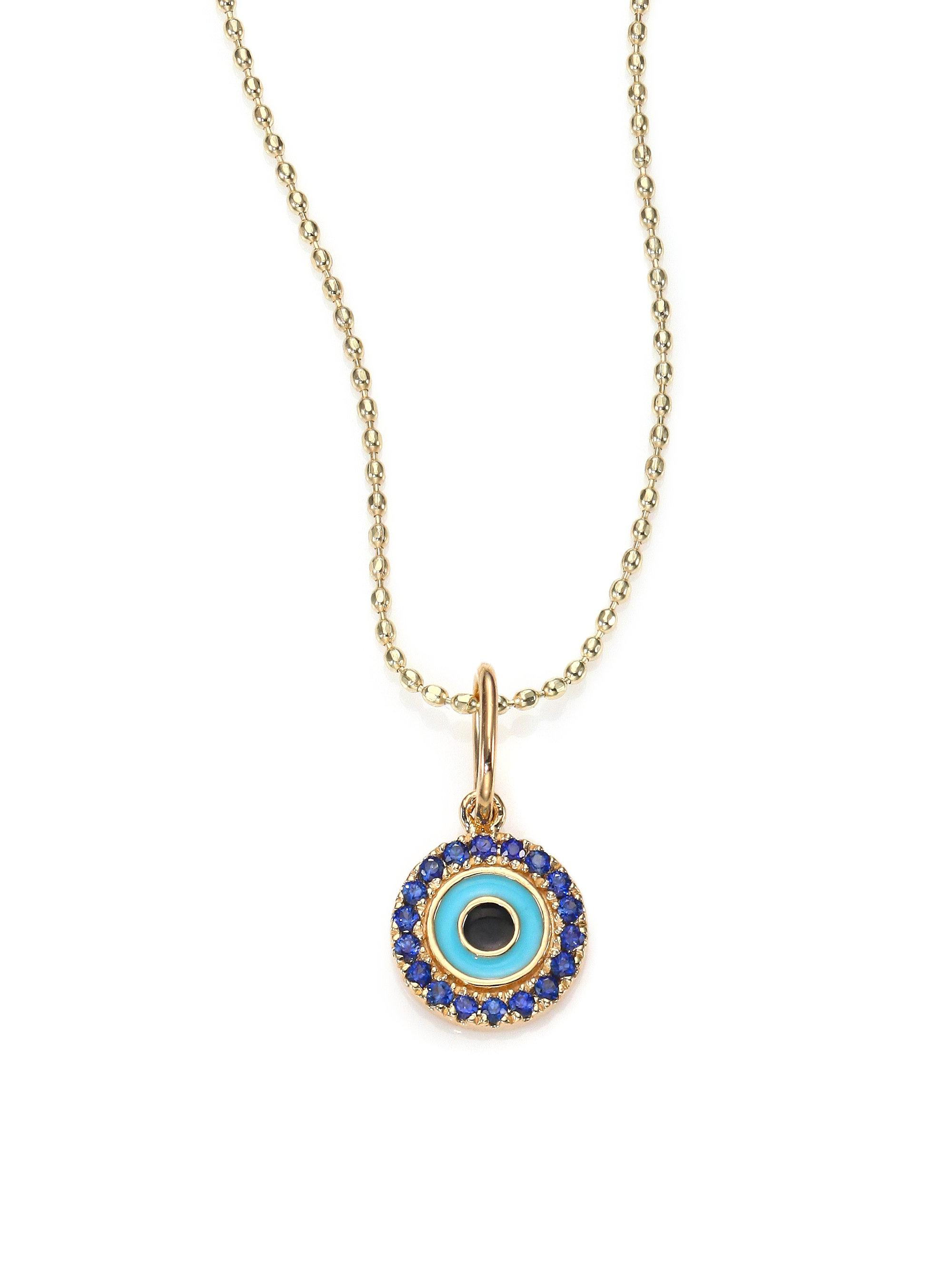 Sydney Evan Small Turquoise Cabochon Evil Eye Pendant Necklace w/Sapphires Jy4XR