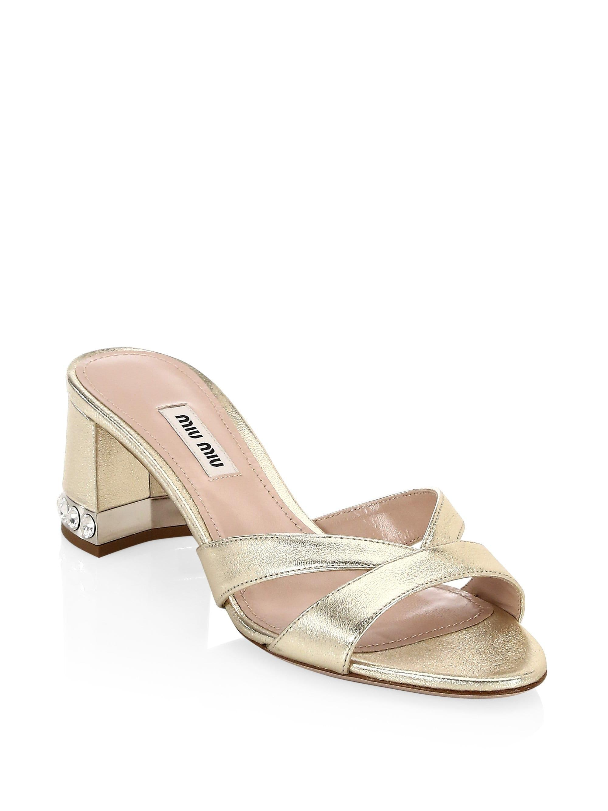 2c9485c68f918c Lyst - Miu Miu Women s Metallic Crystal Block Heel Sandals - Gold ...