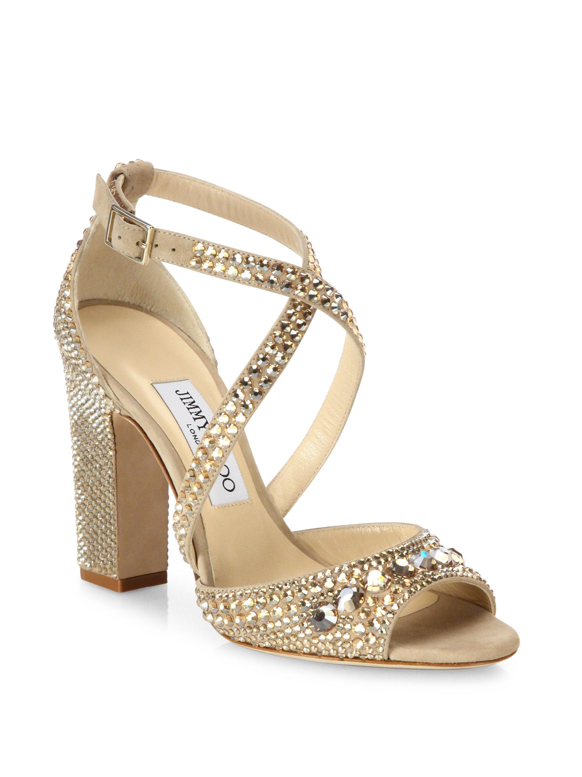 6a70d7574c5 Lyst - Jimmy Choo Carrie 100 Crystal-embellished Suede Block Heel ...