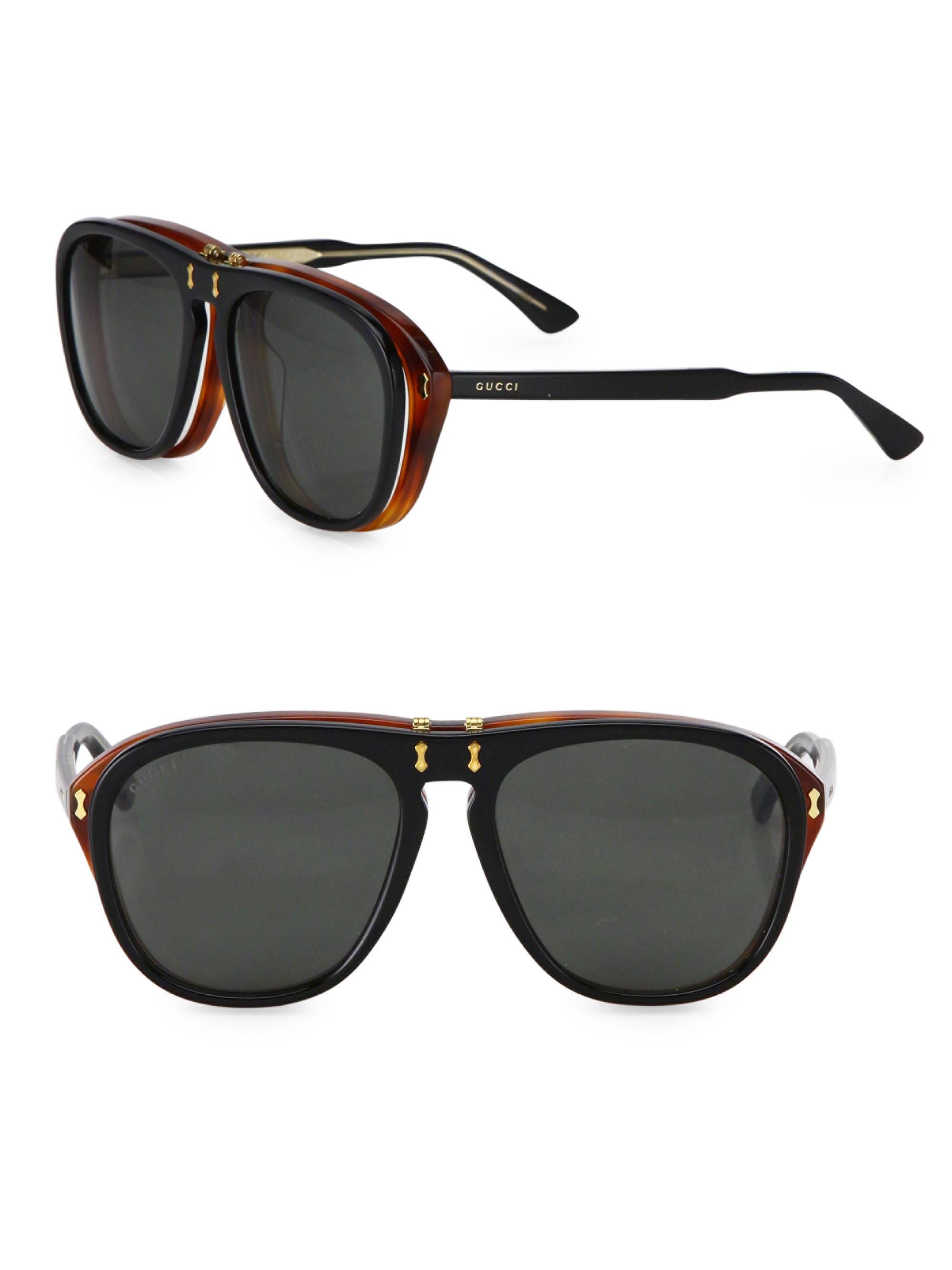 2aaebd8d7 Gucci Men's 56mm Flip-up Pilot Sunglasses - Black in Black for Men ...