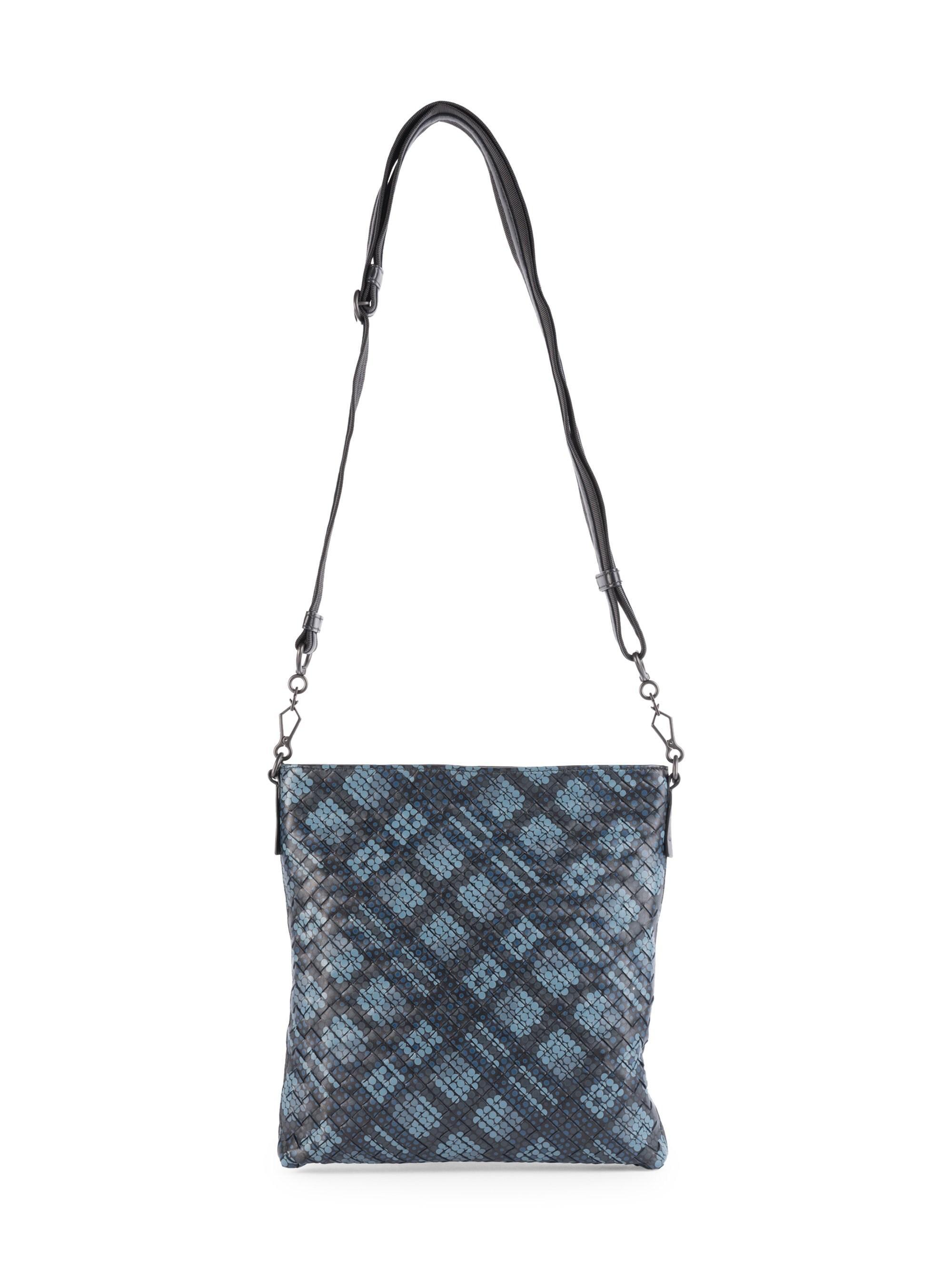 f1ac4d2eb0 Bottega Veneta Men s Dots Woven Leather Crossbody Bag - Blue in Blue for Men  - Lyst