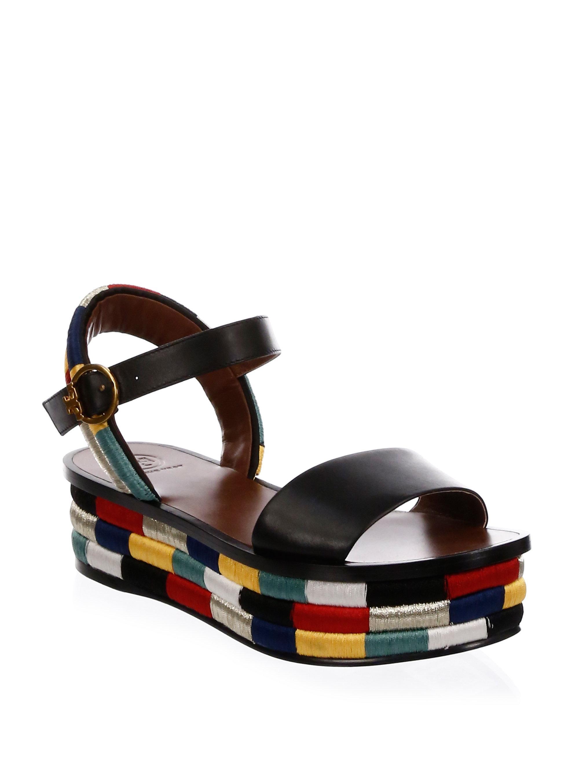 f2fadcea4d7b Lyst - Tory Burch Camilla Flatform Sandals in Black