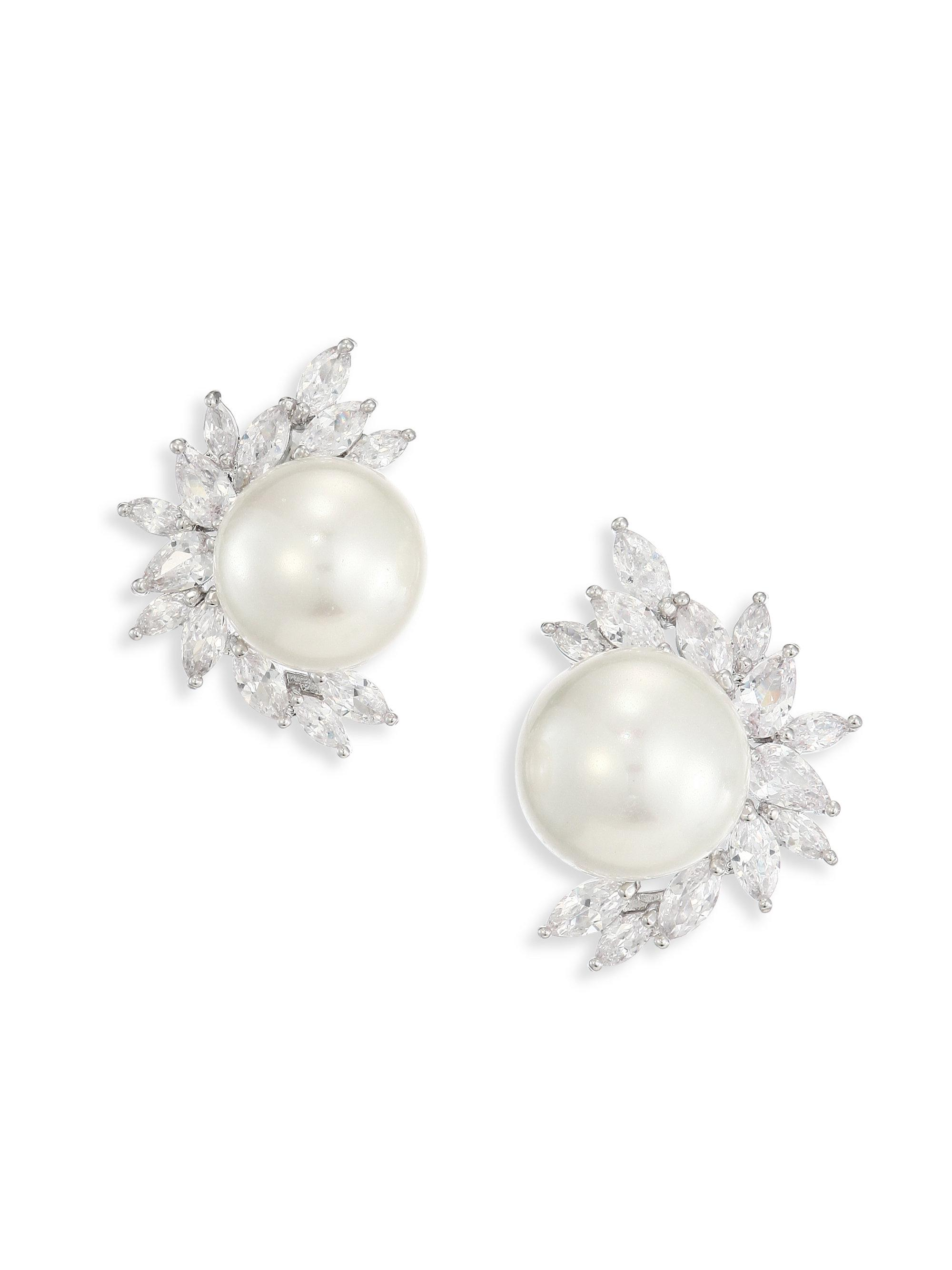 ball earrings s pearl on faux claire stud and clip silver