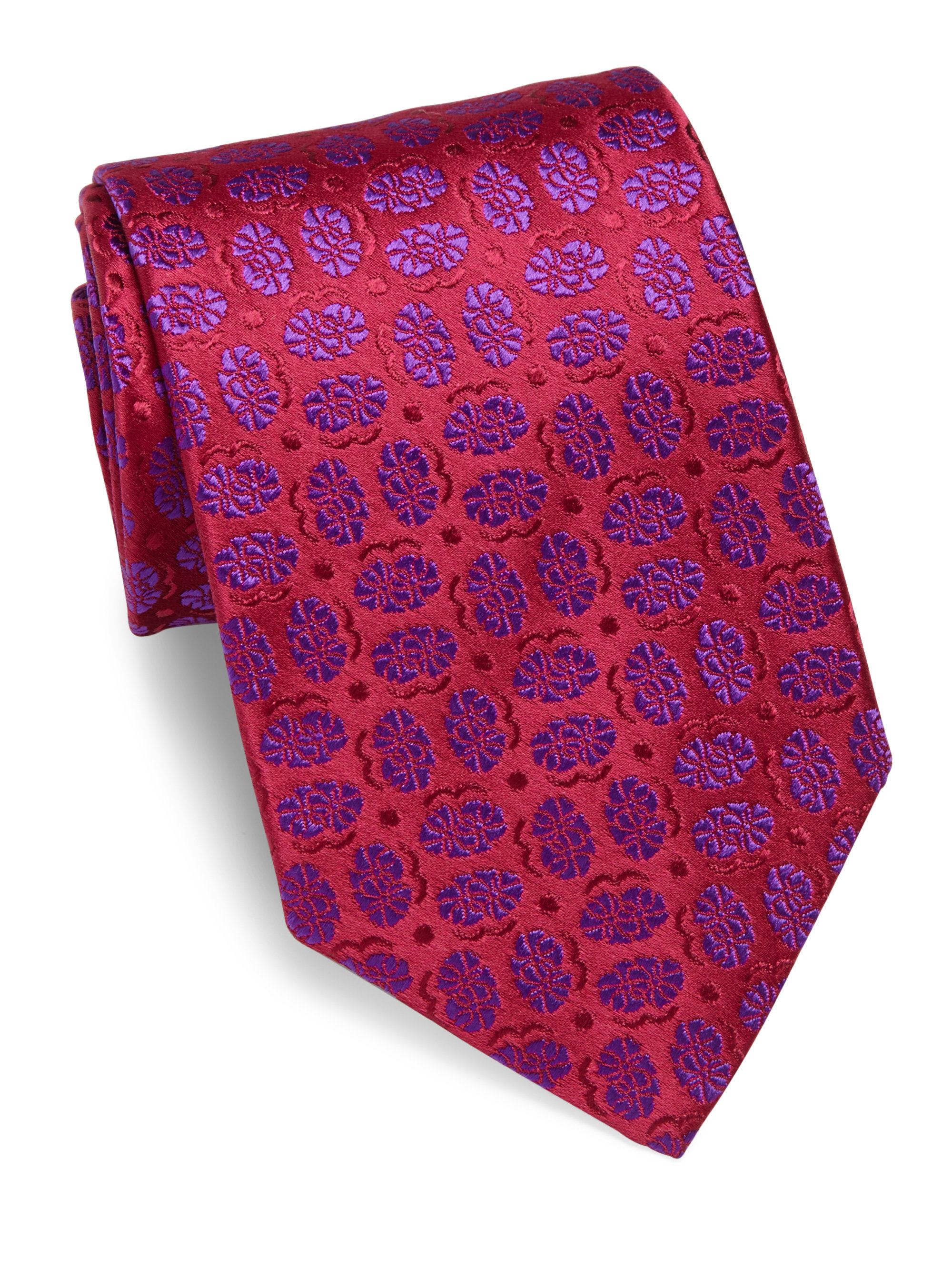 charvet small pattern silk tie in for lyst