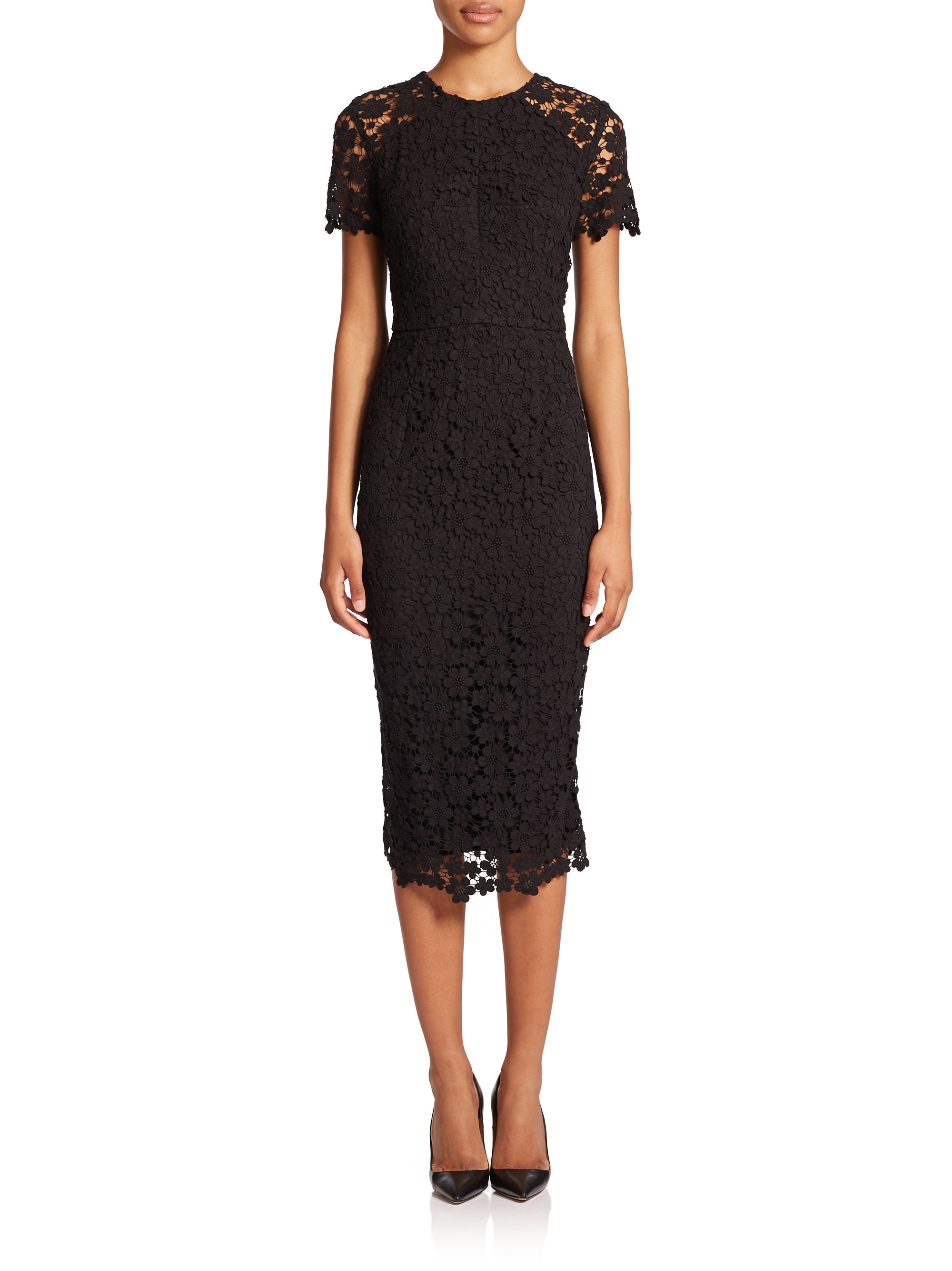 Shoshanna Short Sleeve Lace Midi Sheath Dress In Black Lyst