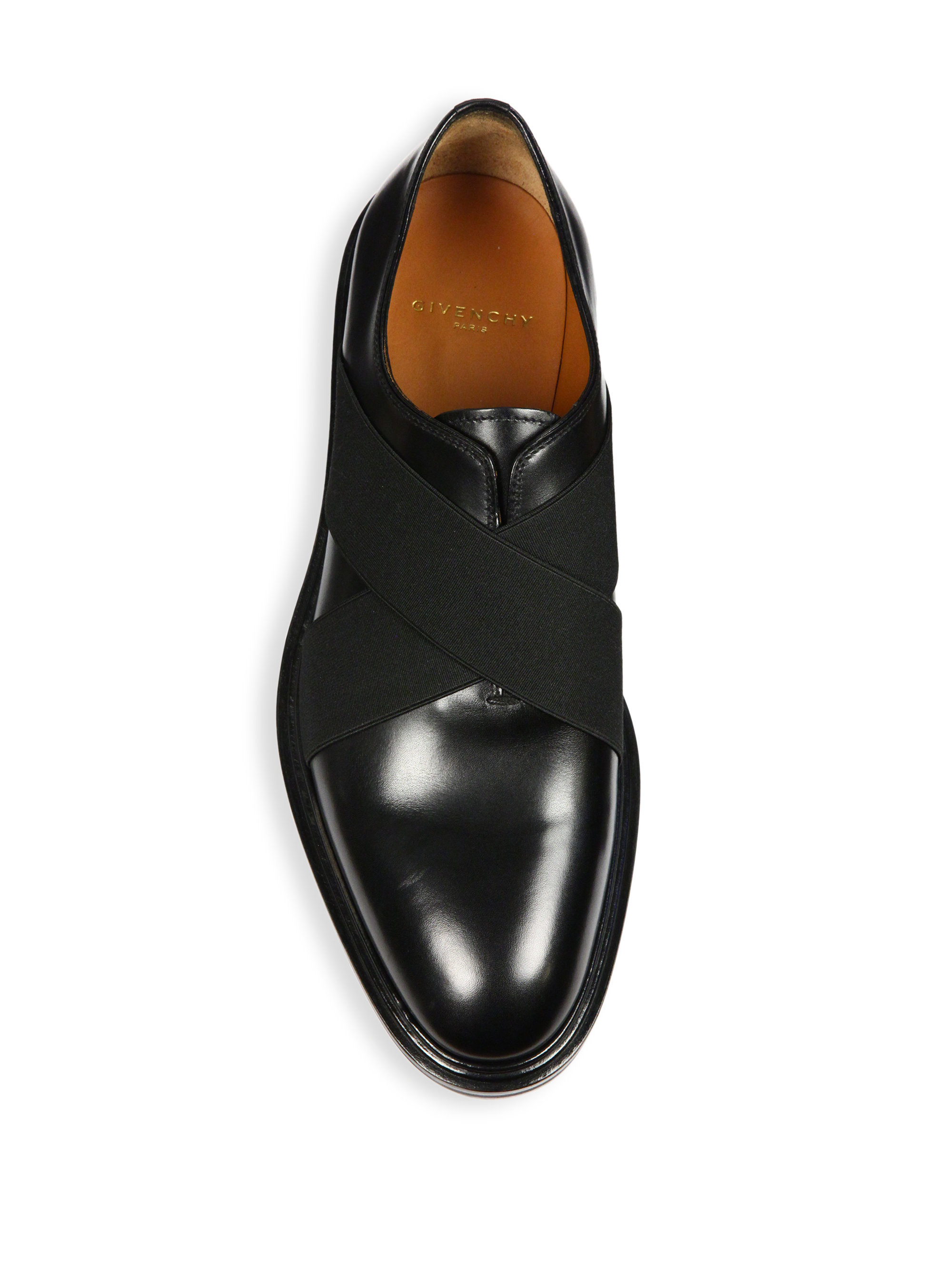 Lyst Givenchy Elastic Strap Leather Loafers In Black For Men