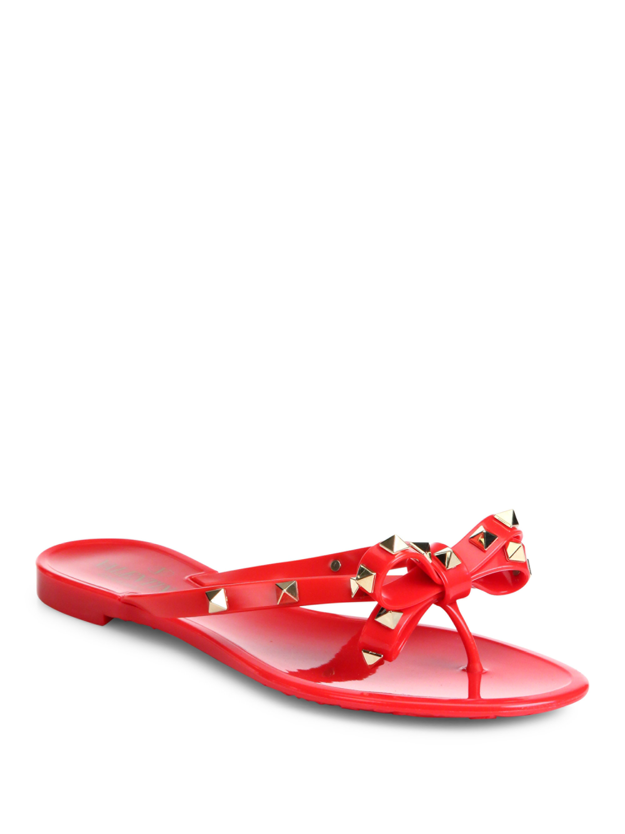 Valentino Rockstud Jelly Sandals In Red Lyst