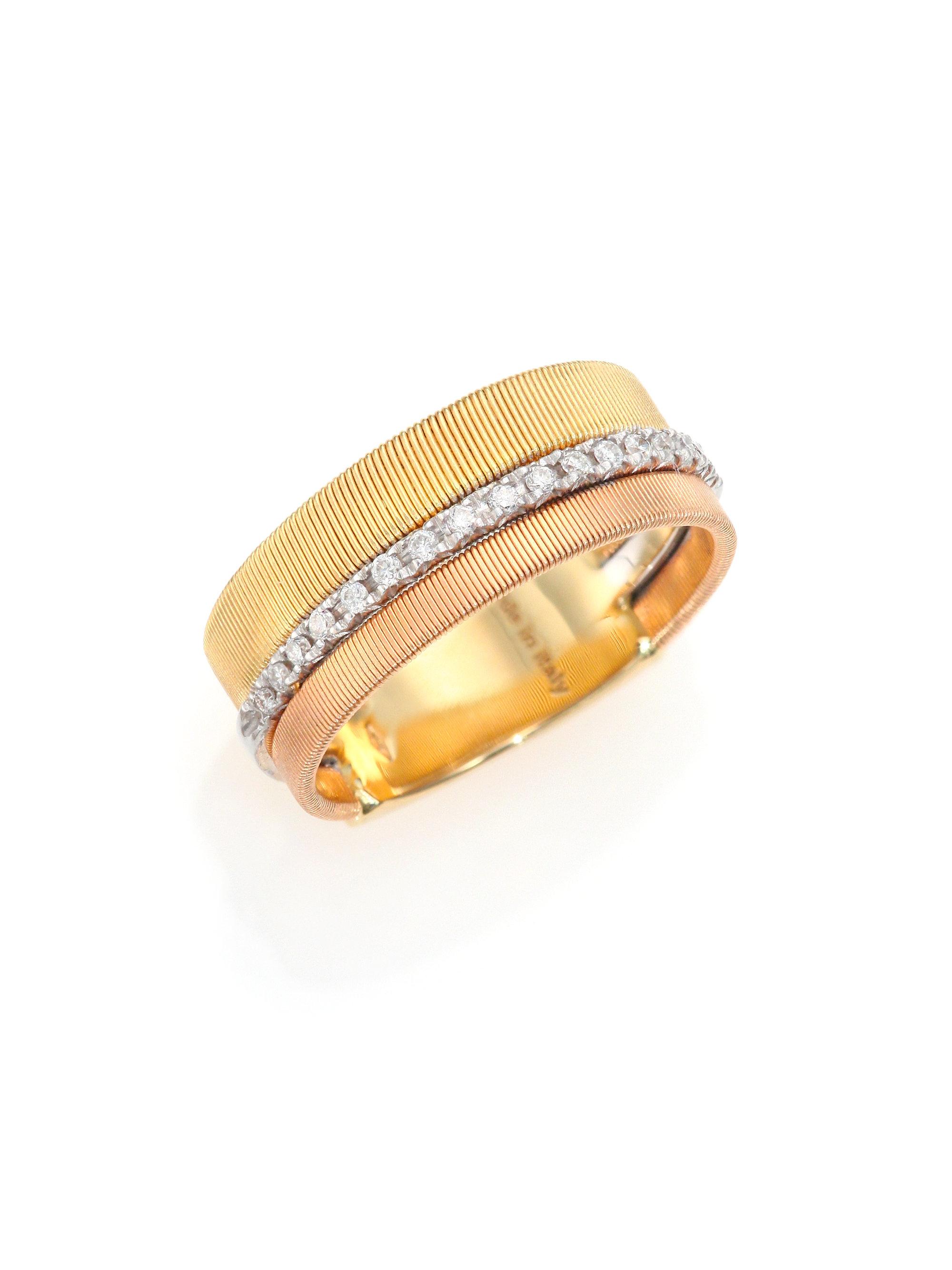 Marco bicego goa diamond 18k white rose yellow gold for Mercedes benz 18k gold ring