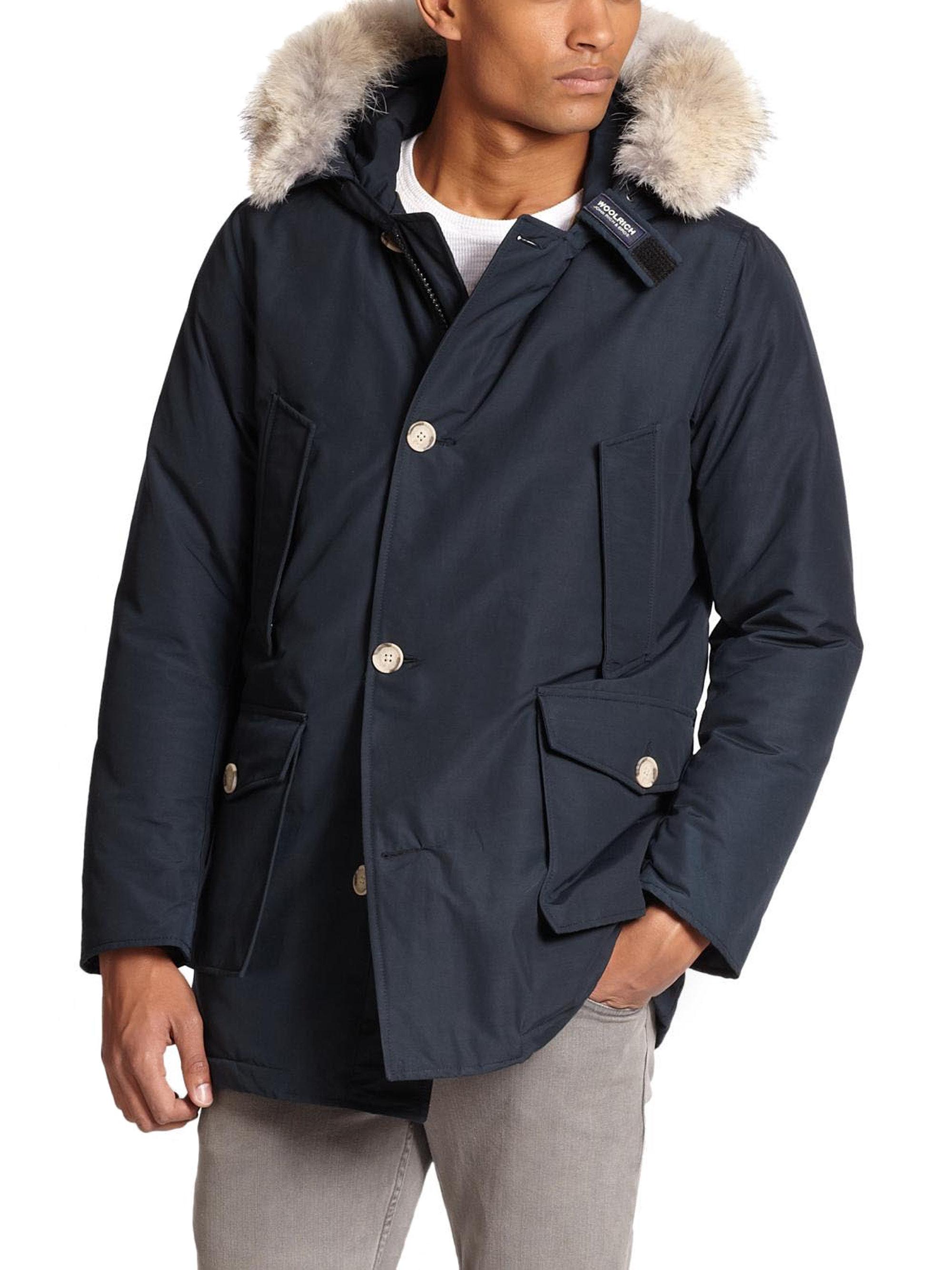 woolrich fur trimmed arctic parka in blue for men lyst. Black Bedroom Furniture Sets. Home Design Ideas